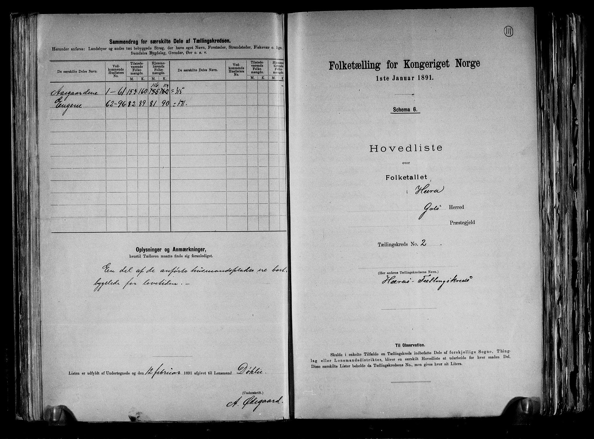 RA, Folketelling 1891 for 0617 Gol og Hemsedal herred, 1891, s. 6