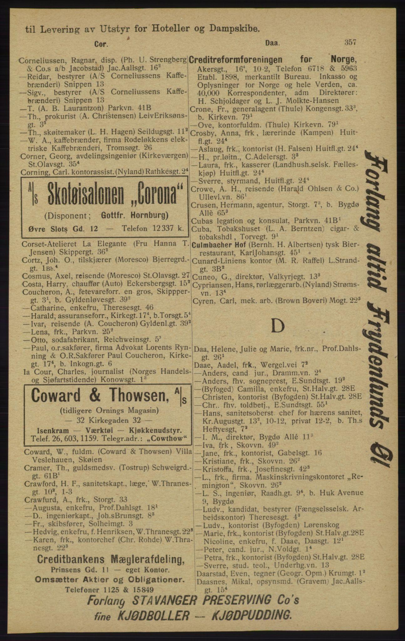 RA, Kristiania adressebok (publikasjon)*, 1913, s. 357