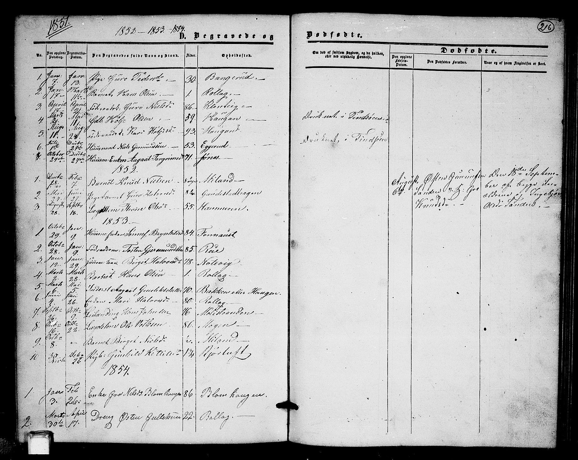 SAKO, Tinn kirkebøker, G/Gb/L0002: Klokkerbok nr. II 2, 1851-1886, s. 216