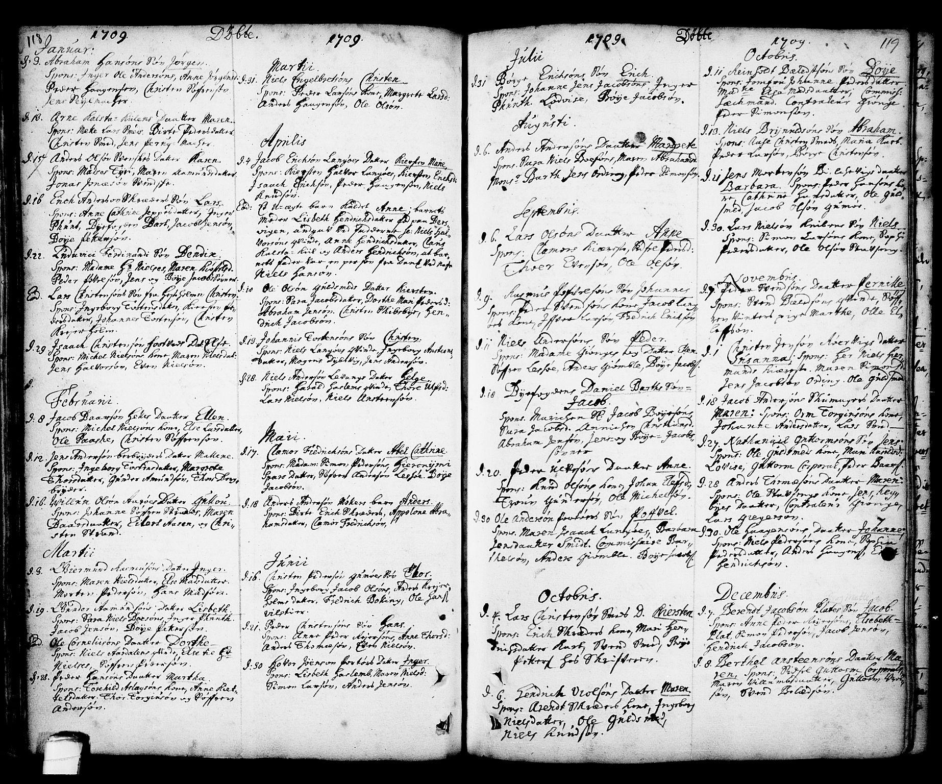 SAKO, Kragerø kirkebøker, F/Fa/L0001: Ministerialbok nr. 1, 1702-1766, s. 118-119