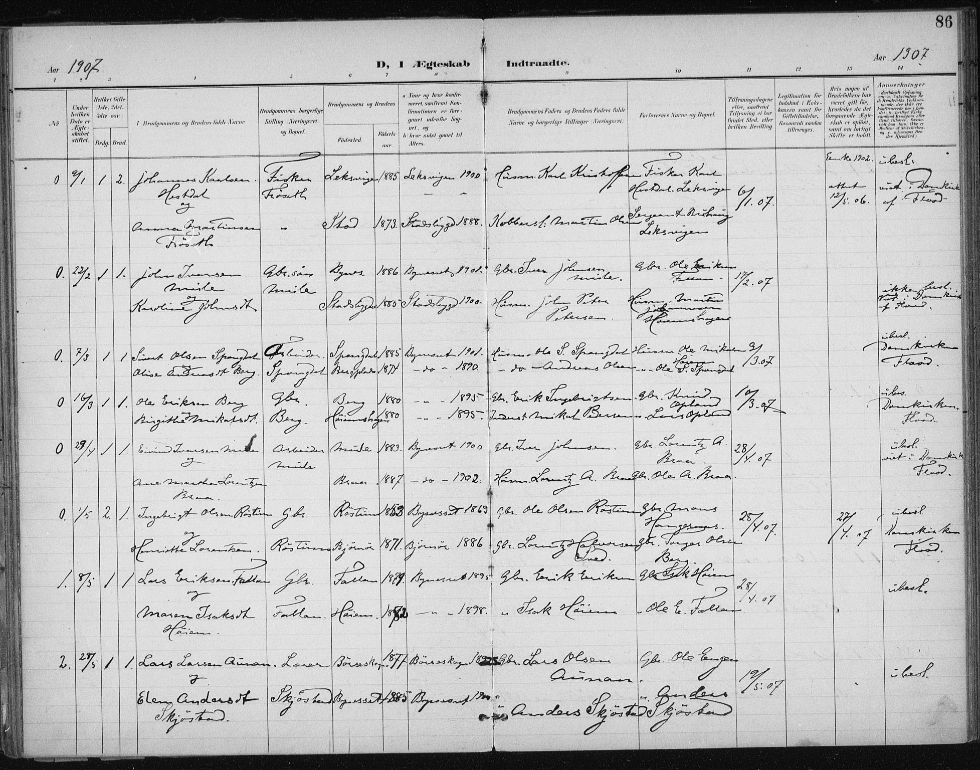 SAT, Ministerialprotokoller, klokkerbøker og fødselsregistre - Sør-Trøndelag, 612/L0380: Ministerialbok nr. 612A12, 1898-1907, s. 86