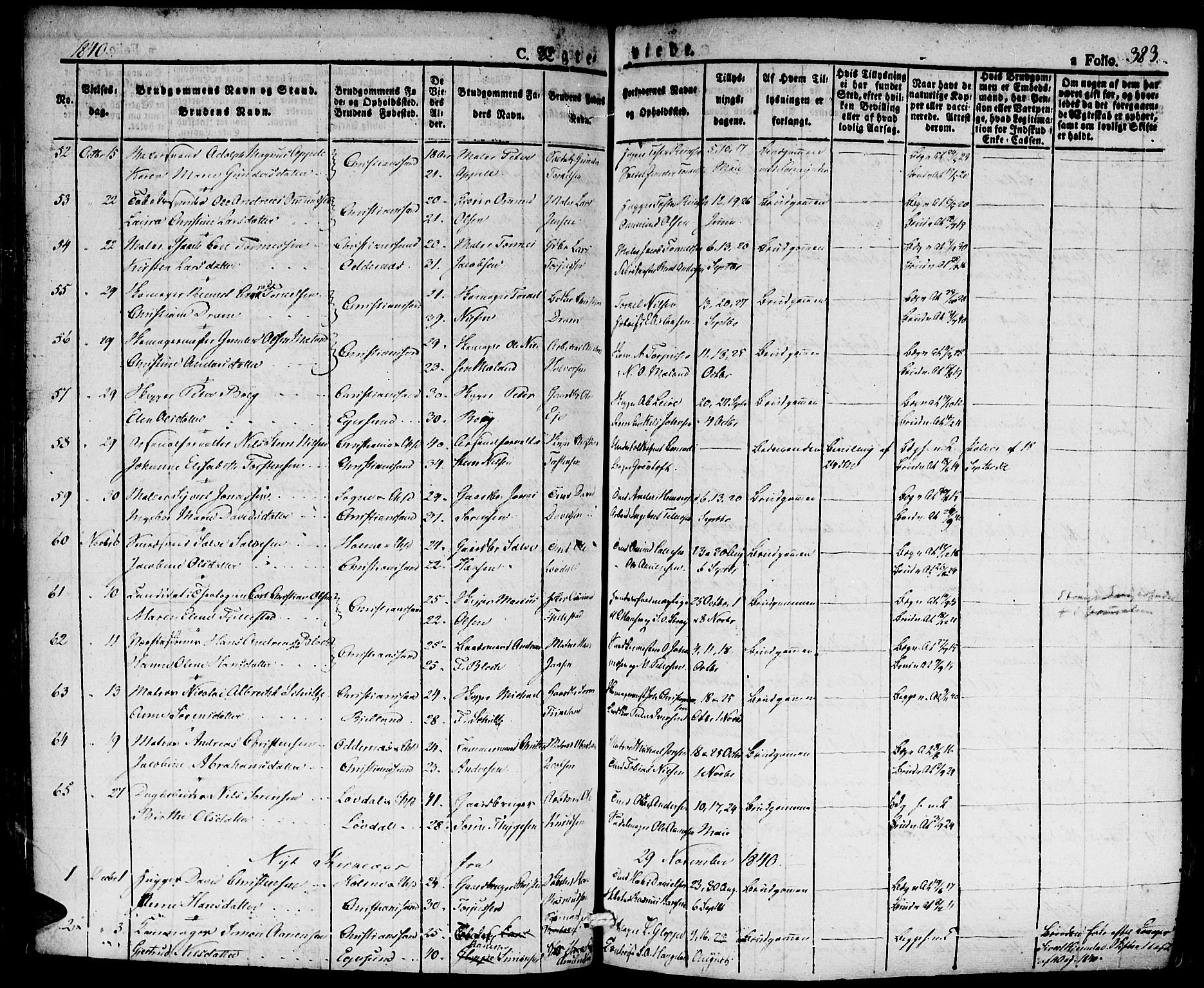 SAK, Kristiansand domprosti, F/Fa/L0011: Ministerialbok nr. A 11, 1827-1841, s. 383