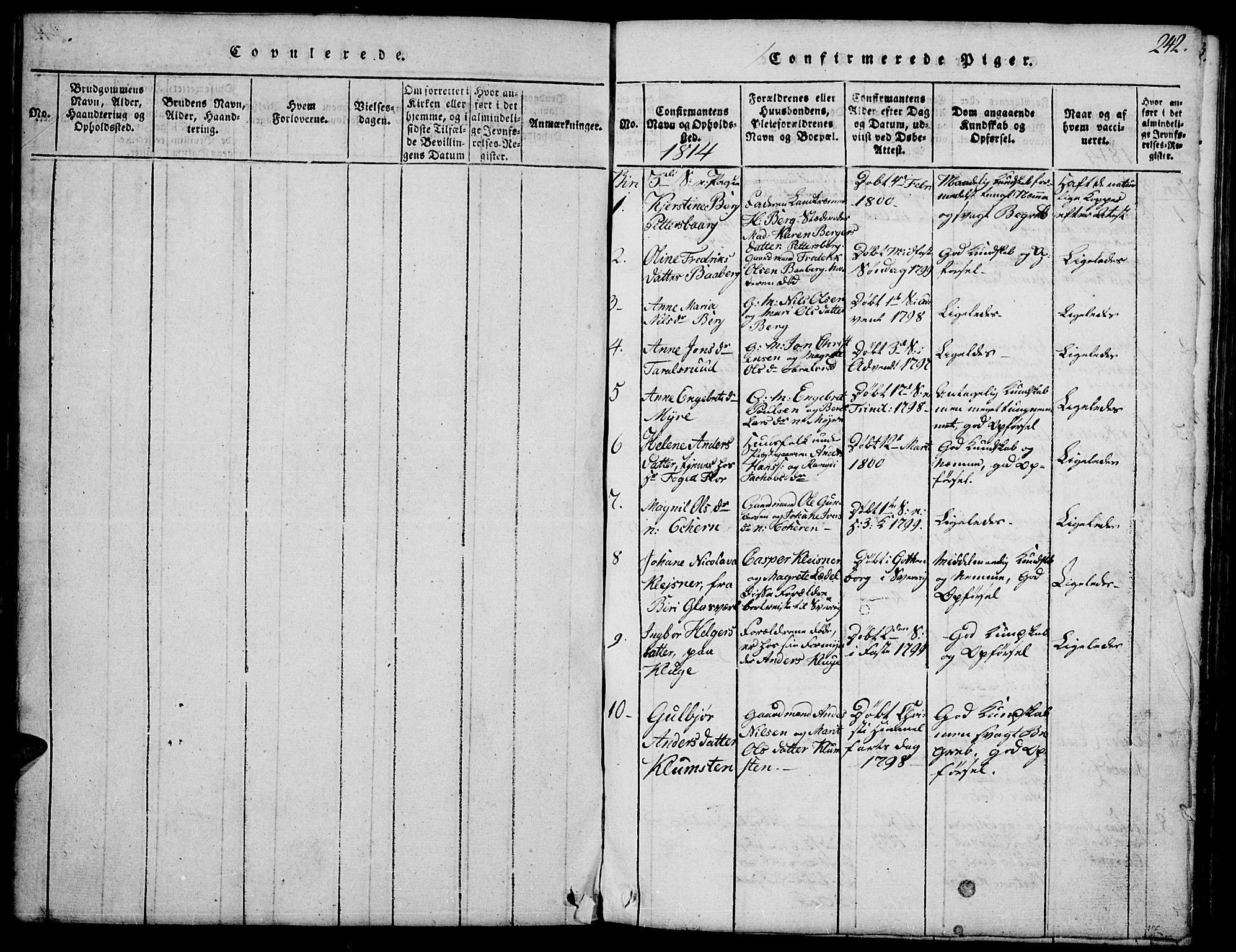 SAH, Biri prestekontor, Klokkerbok nr. 1, 1814-1828, s. 242