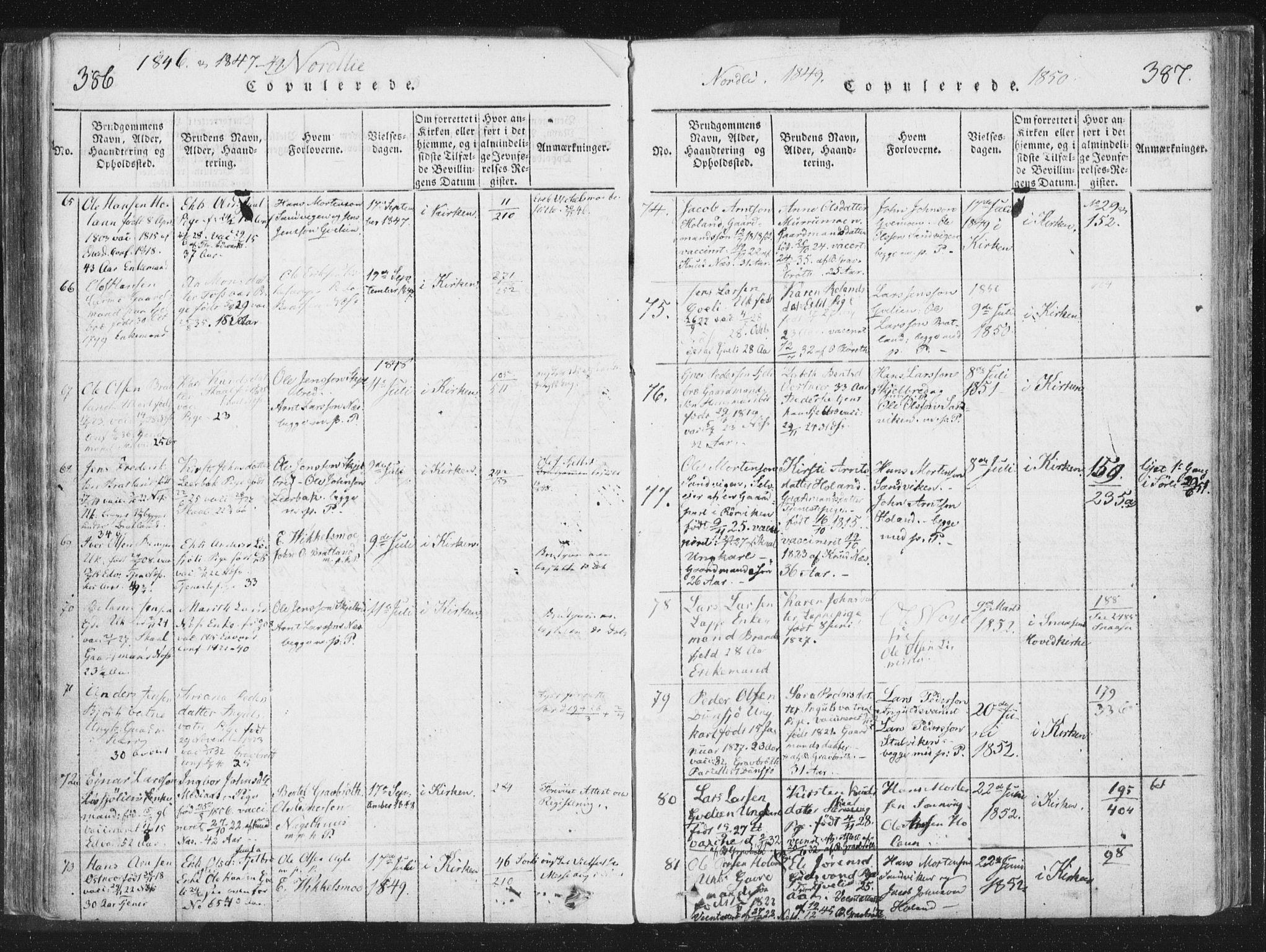 SAT, Ministerialprotokoller, klokkerbøker og fødselsregistre - Nord-Trøndelag, 755/L0491: Ministerialbok nr. 755A01 /1, 1817-1864, s. 386-387