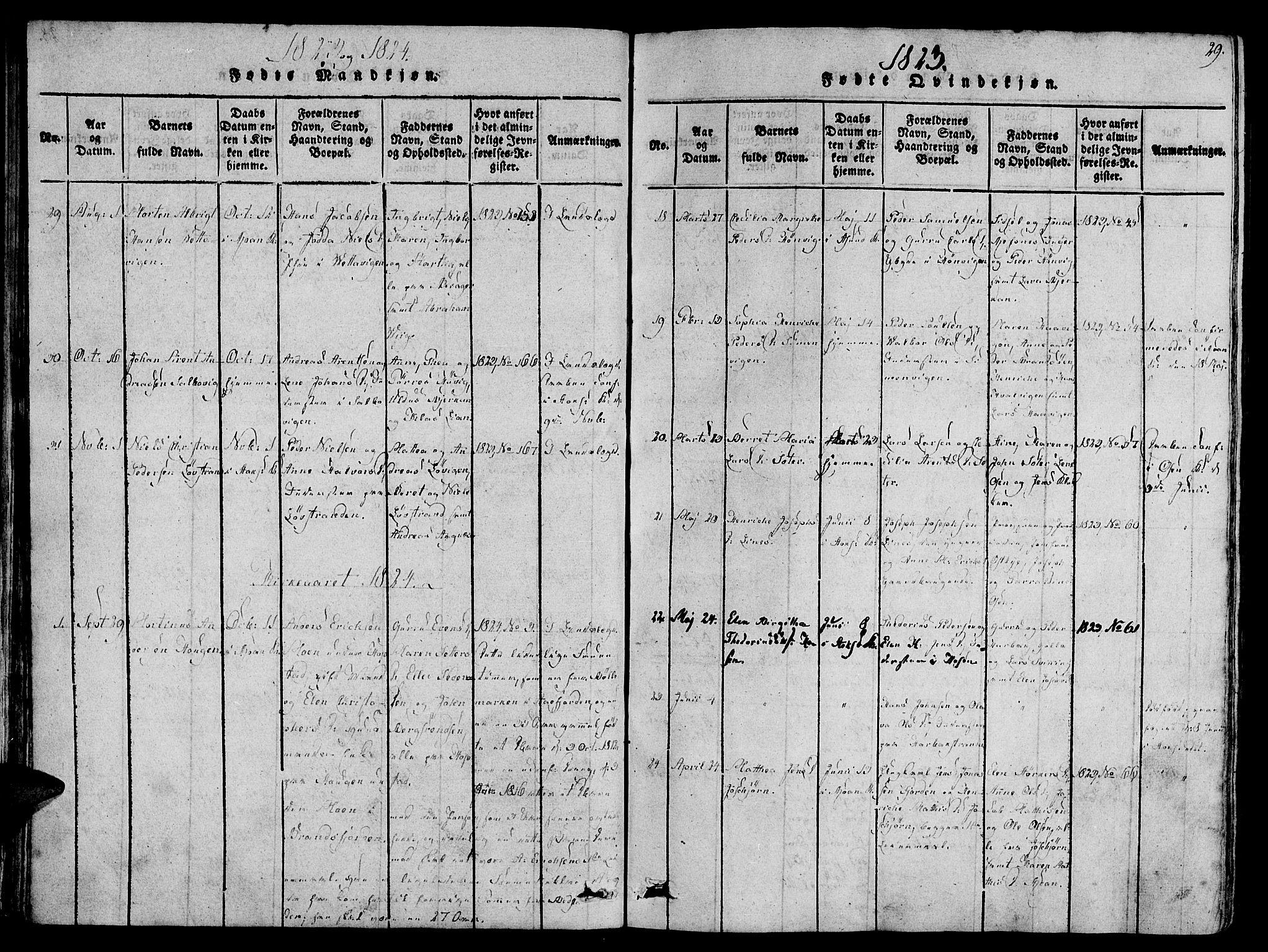 SAT, Ministerialprotokoller, klokkerbøker og fødselsregistre - Sør-Trøndelag, 657/L0702: Ministerialbok nr. 657A03, 1818-1831, s. 29
