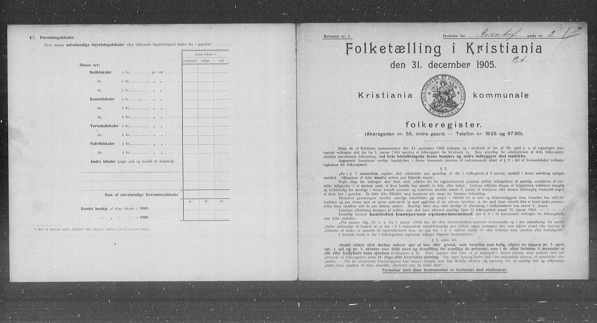 OBA, Kommunal folketelling 1905 for Kristiania kjøpstad, 1905, s. 44058