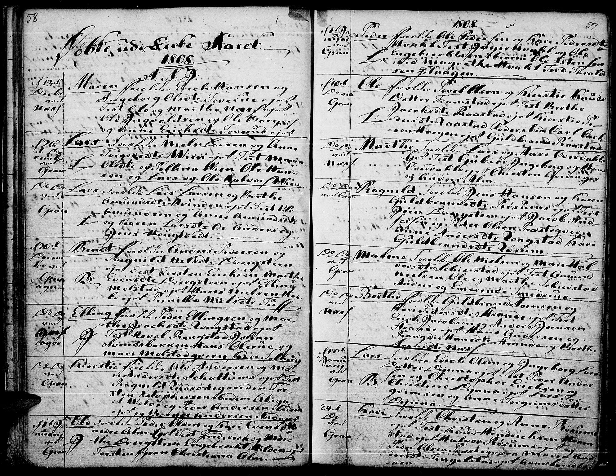SAH, Gran prestekontor, Ministerialbok nr. 7, 1804-1815, s. 58-59