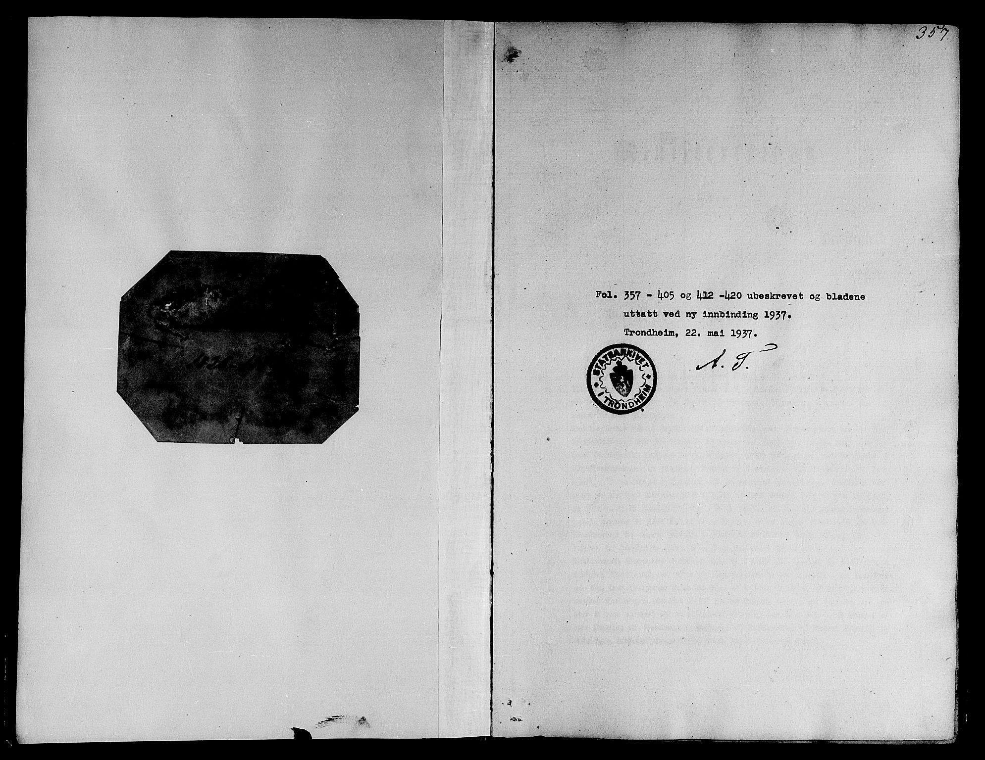 SAT, Ministerialprotokoller, klokkerbøker og fødselsregistre - Sør-Trøndelag, 668/L0804: Ministerialbok nr. 668A04, 1826-1839, s. 357