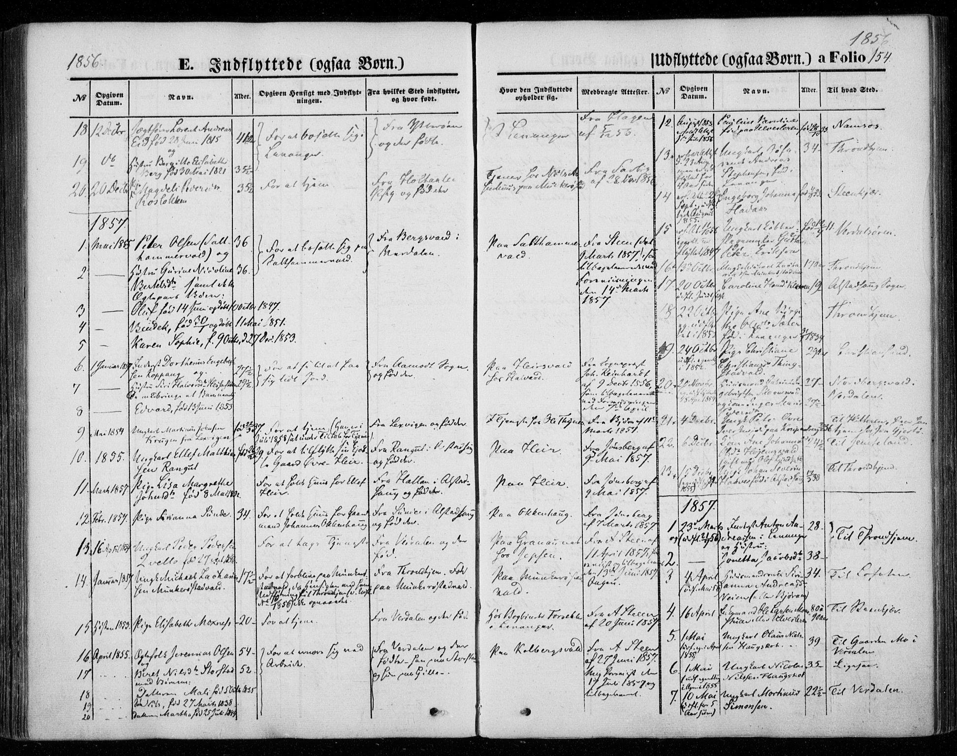 SAT, Ministerialprotokoller, klokkerbøker og fødselsregistre - Nord-Trøndelag, 720/L0184: Ministerialbok nr. 720A02 /1, 1855-1863, s. 154