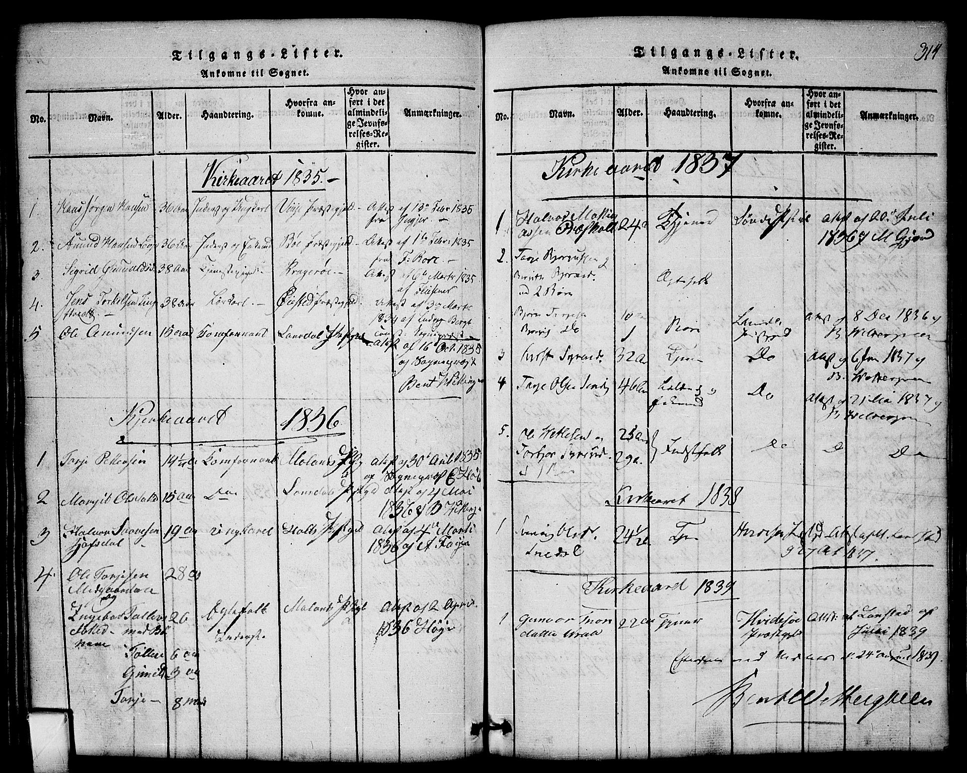 SAKO, Mo kirkebøker, G/Gb/L0001: Klokkerbok nr. II 1, 1814-1843, s. 314