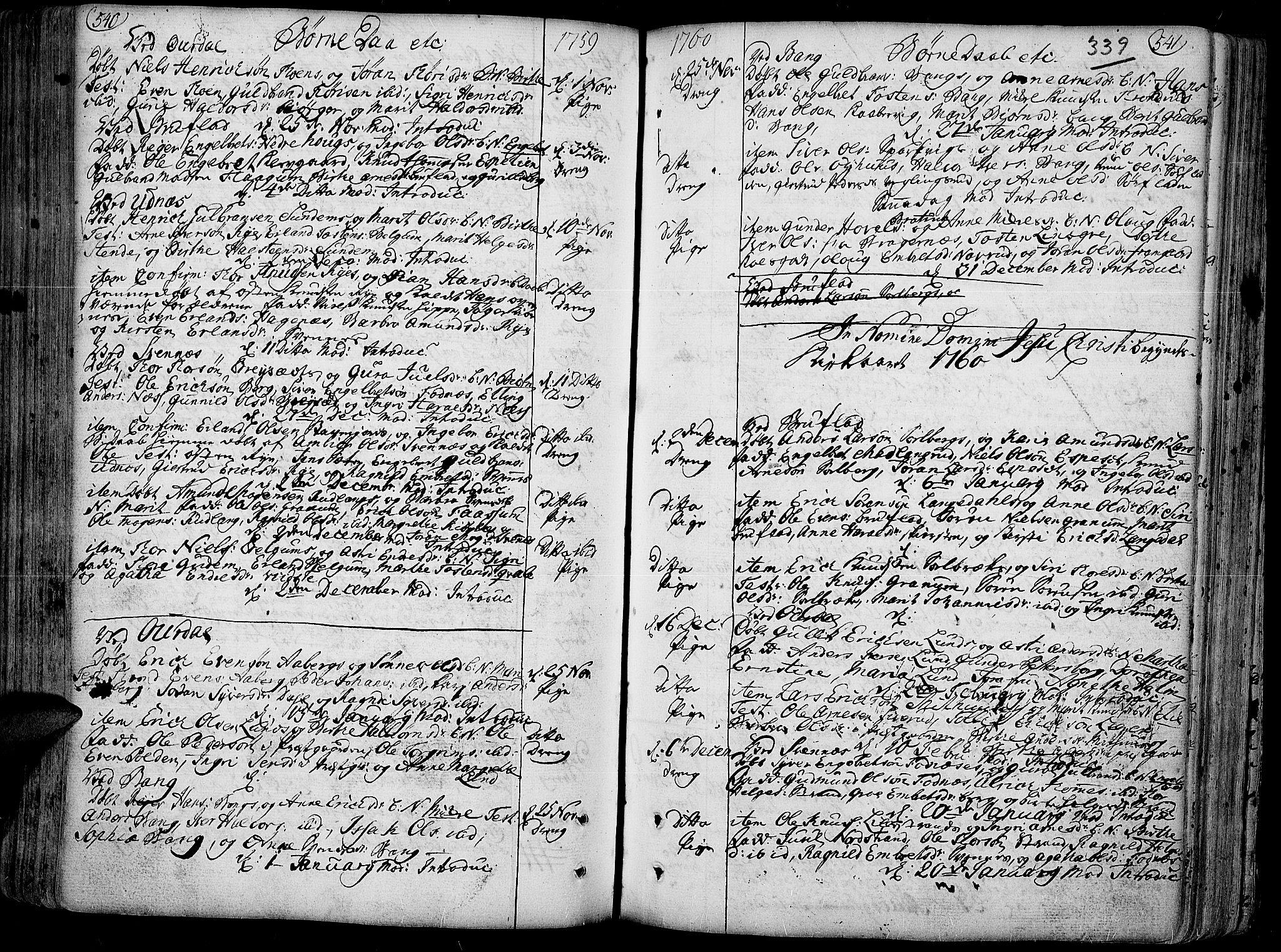 SAH, Aurdal prestekontor, Ministerialbok nr. 4, 1730-1762, s. 540-541