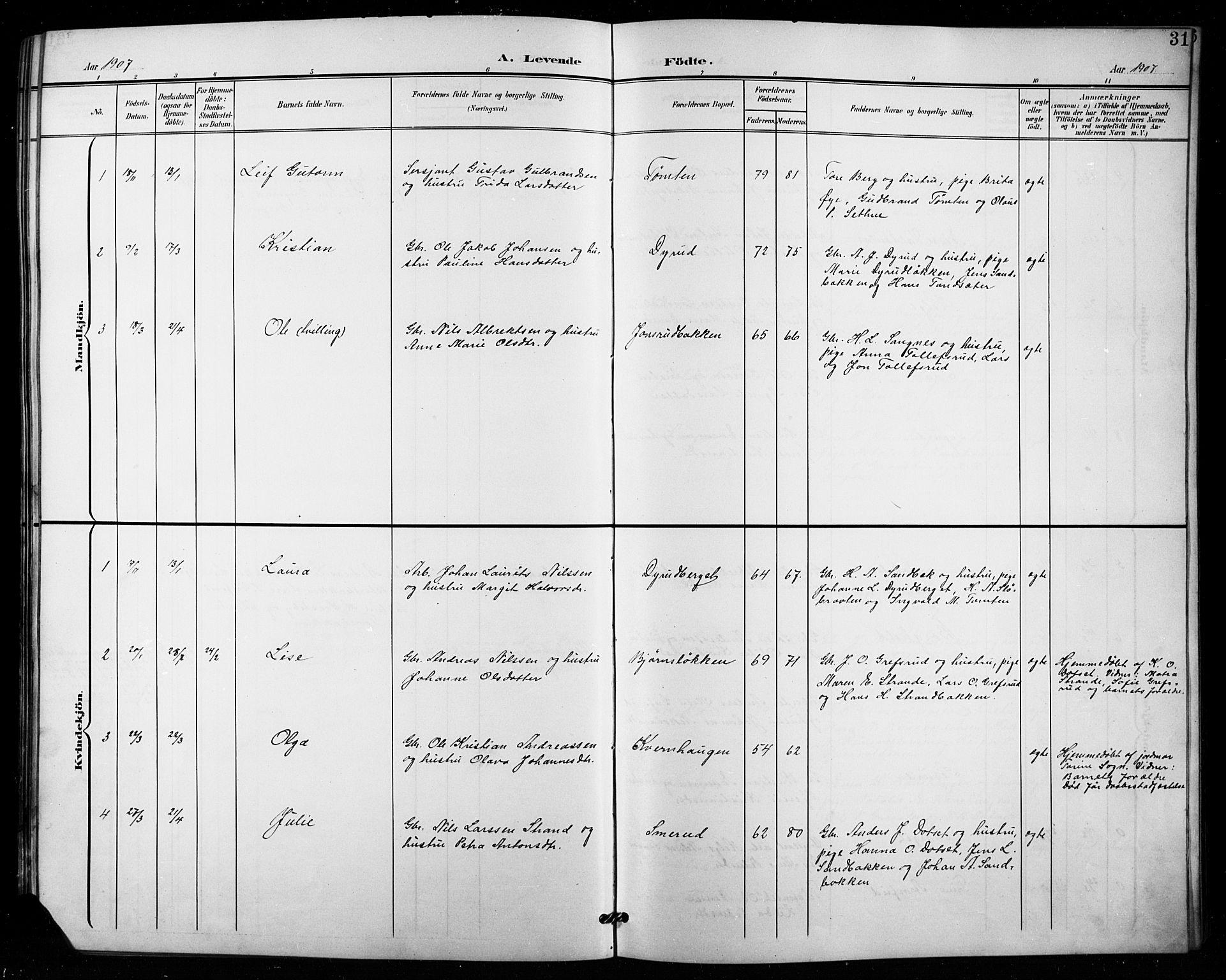 SAH, Vestre Toten prestekontor, Klokkerbok nr. 16, 1901-1915, s. 31
