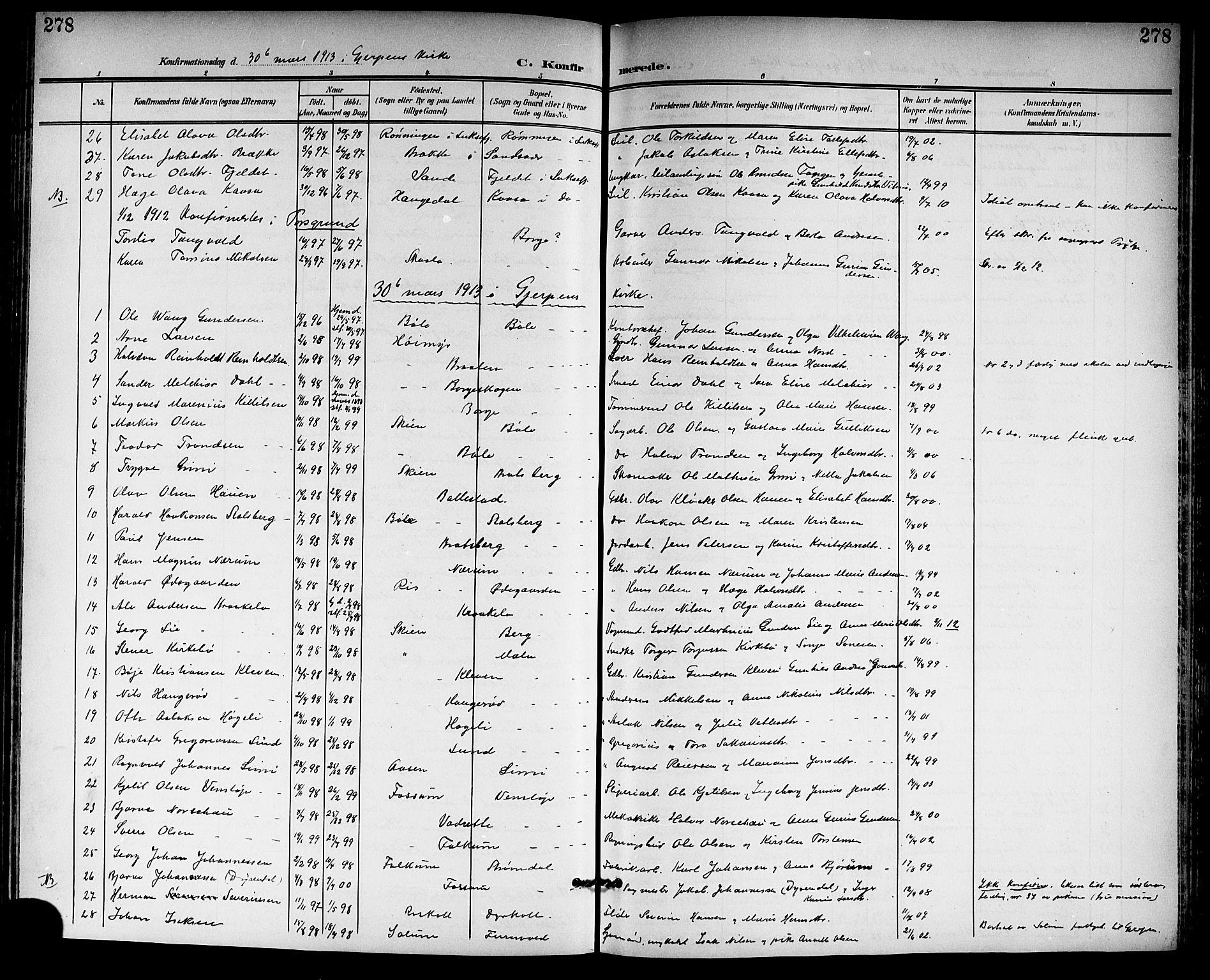 SAKO, Gjerpen kirkebøker, G/Ga/L0003: Klokkerbok nr. I 3, 1901-1919, s. 278