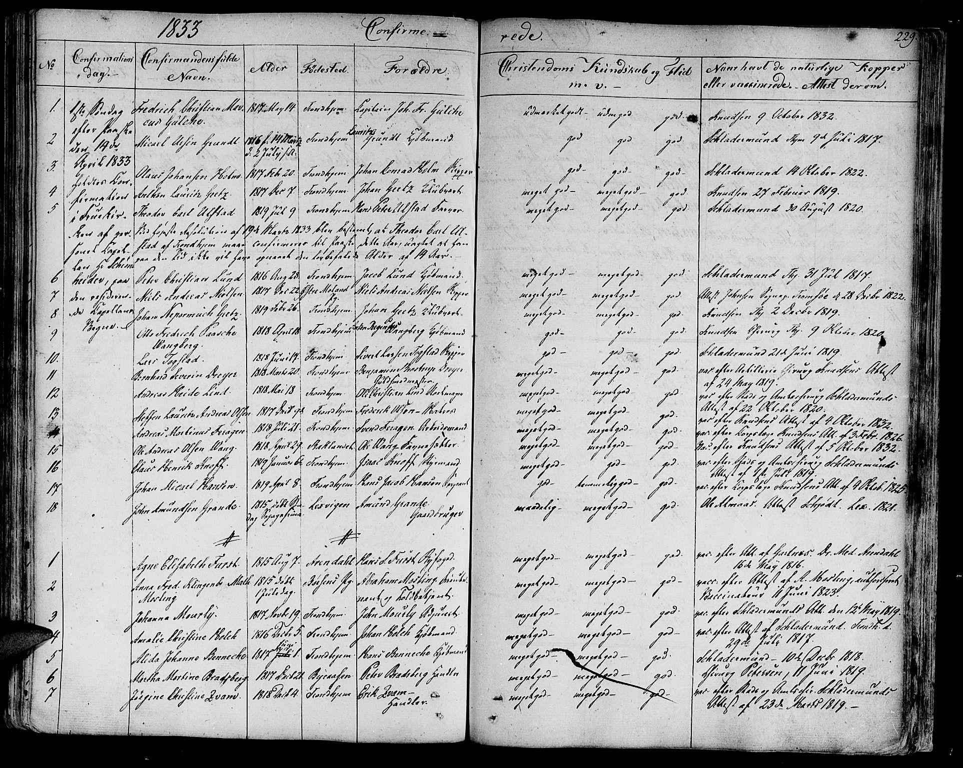 SAT, Ministerialprotokoller, klokkerbøker og fødselsregistre - Sør-Trøndelag, 602/L0108: Ministerialbok nr. 602A06, 1821-1839, s. 229
