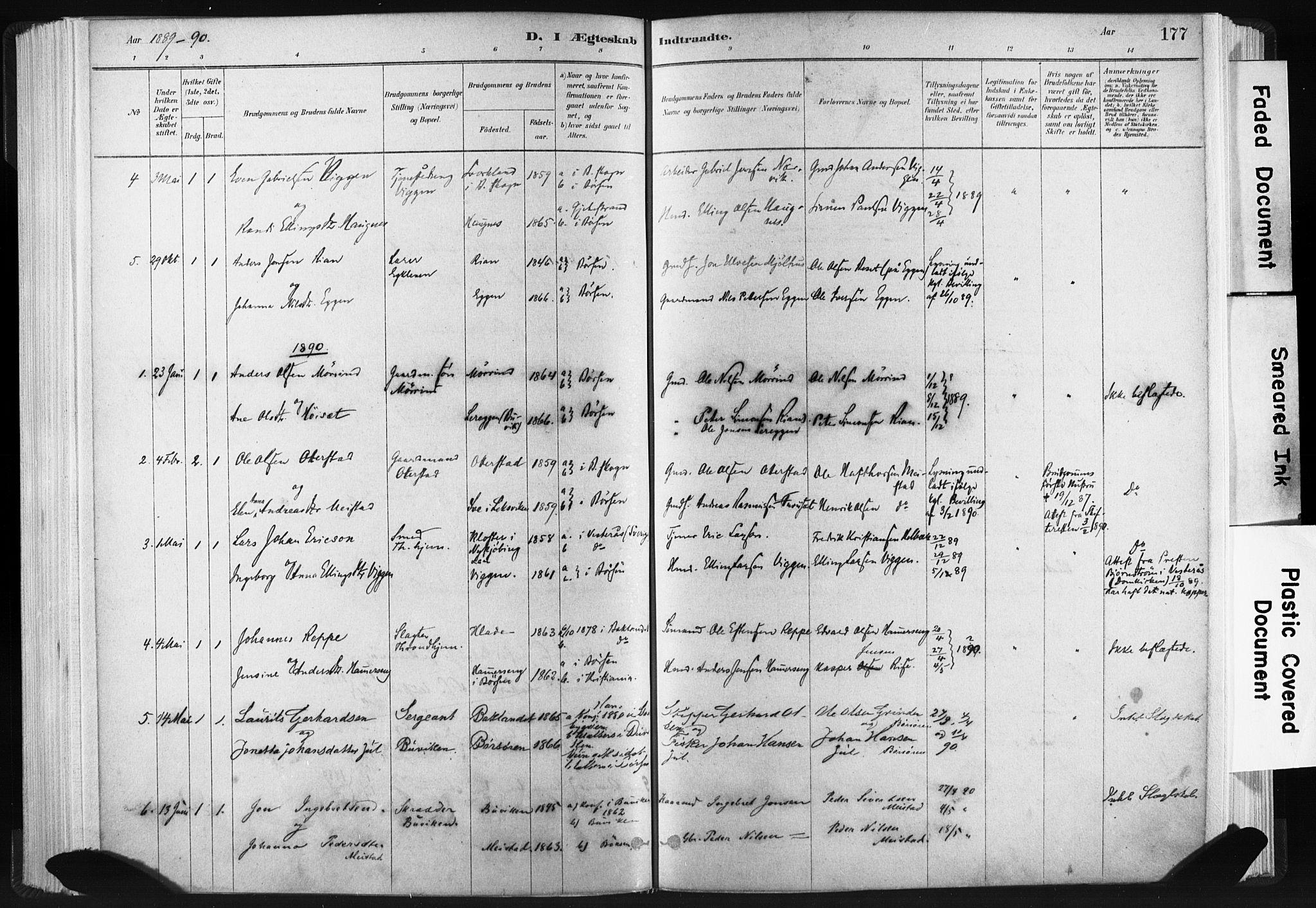 SAT, Ministerialprotokoller, klokkerbøker og fødselsregistre - Sør-Trøndelag, 665/L0773: Ministerialbok nr. 665A08, 1879-1905, s. 177