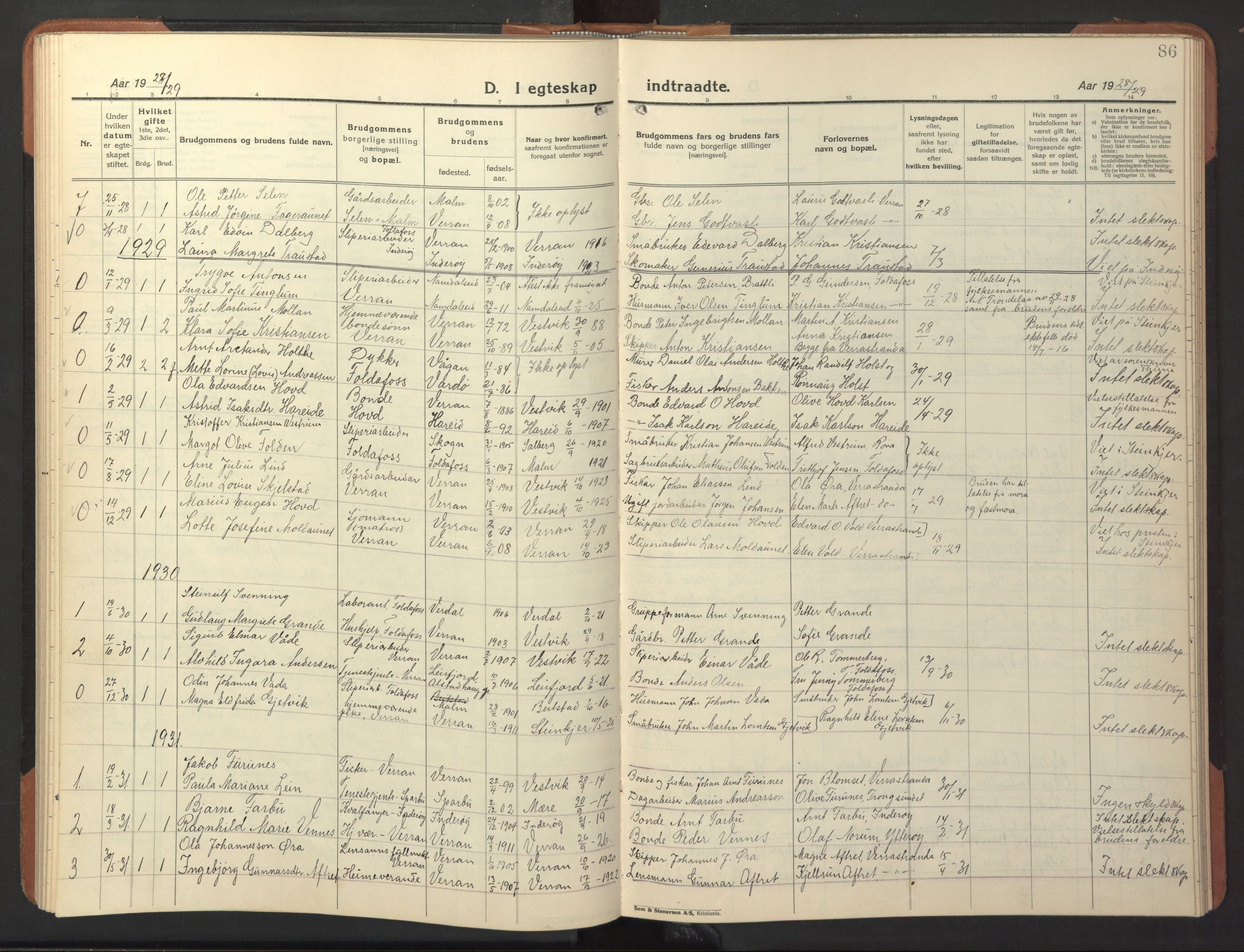 SAT, Ministerialprotokoller, klokkerbøker og fødselsregistre - Nord-Trøndelag, 744/L0425: Klokkerbok nr. 744C04, 1924-1947, s. 86