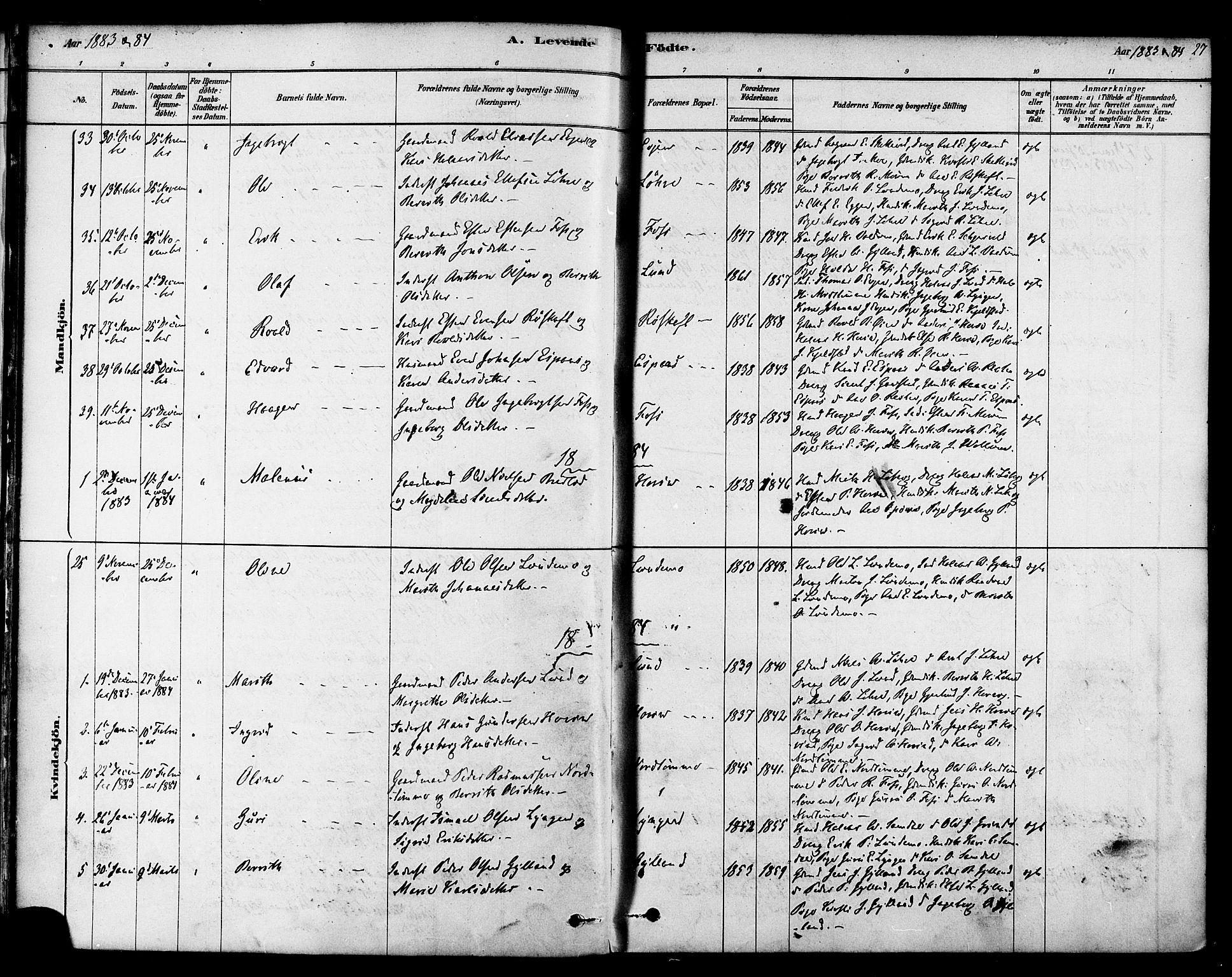 SAT, Ministerialprotokoller, klokkerbøker og fødselsregistre - Sør-Trøndelag, 692/L1105: Ministerialbok nr. 692A05, 1878-1890, s. 27