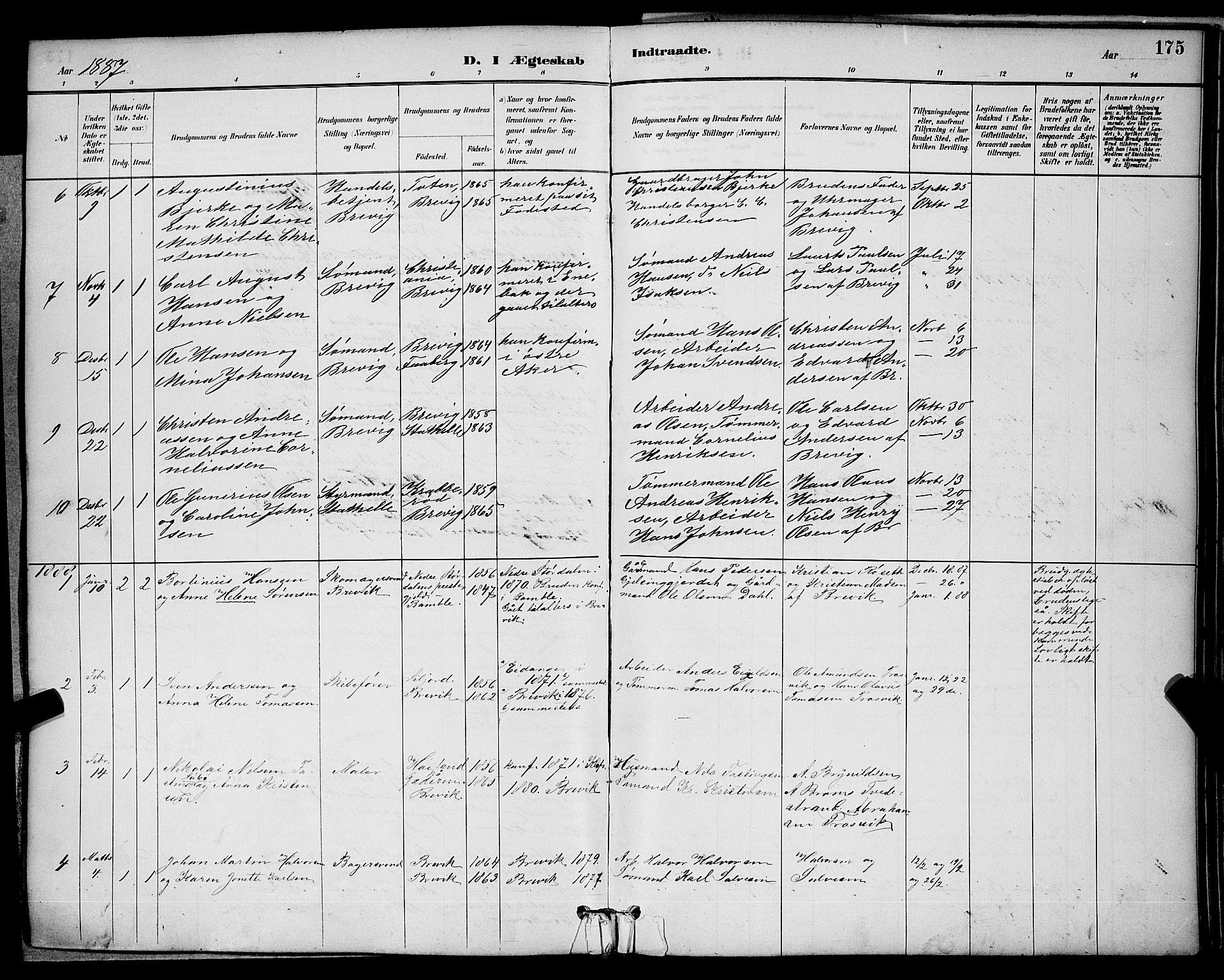 SAKO, Brevik kirkebøker, G/Ga/L0004: Klokkerbok nr. 4, 1882-1900, s. 175