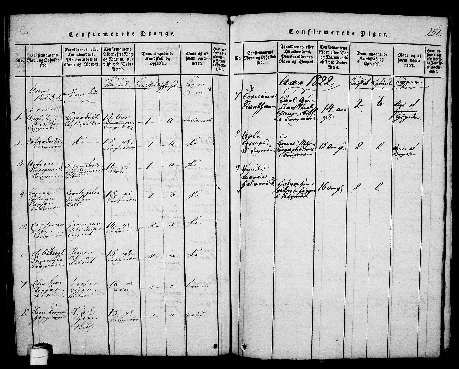 SAKO, Kragerø kirkebøker, G/Ga/L0002: Klokkerbok nr. 2, 1814-1831, s. 258