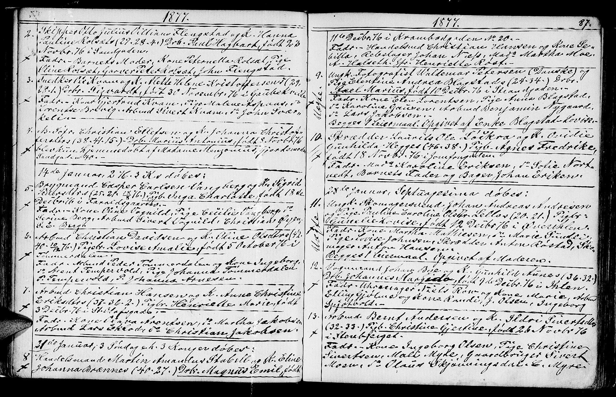 SAT, Ministerialprotokoller, klokkerbøker og fødselsregistre - Sør-Trøndelag, 602/L0142: Klokkerbok nr. 602C10, 1872-1894, s. 87