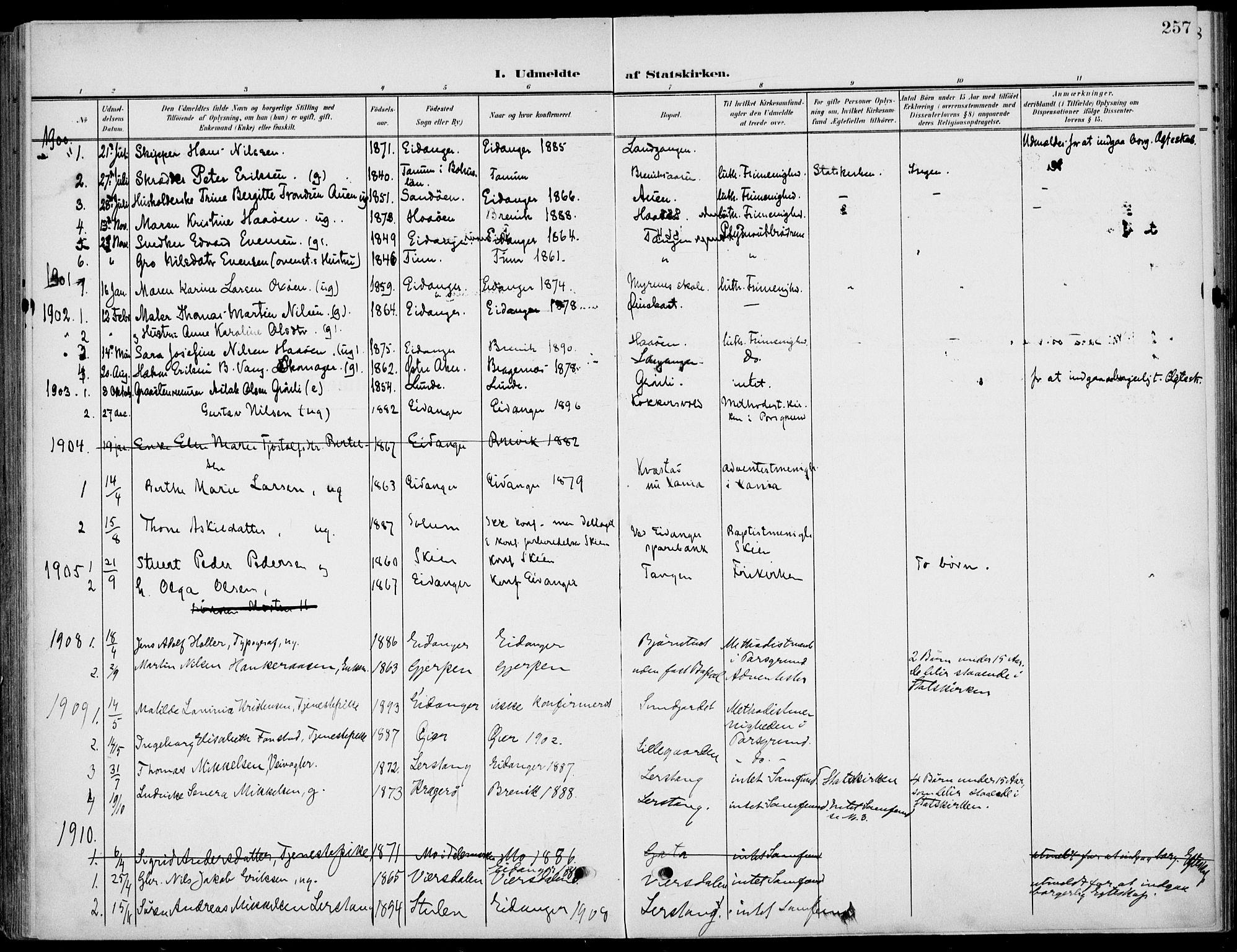 SAKO, Eidanger kirkebøker, F/Fa/L0013: Ministerialbok nr. 13, 1900-1913, s. 257