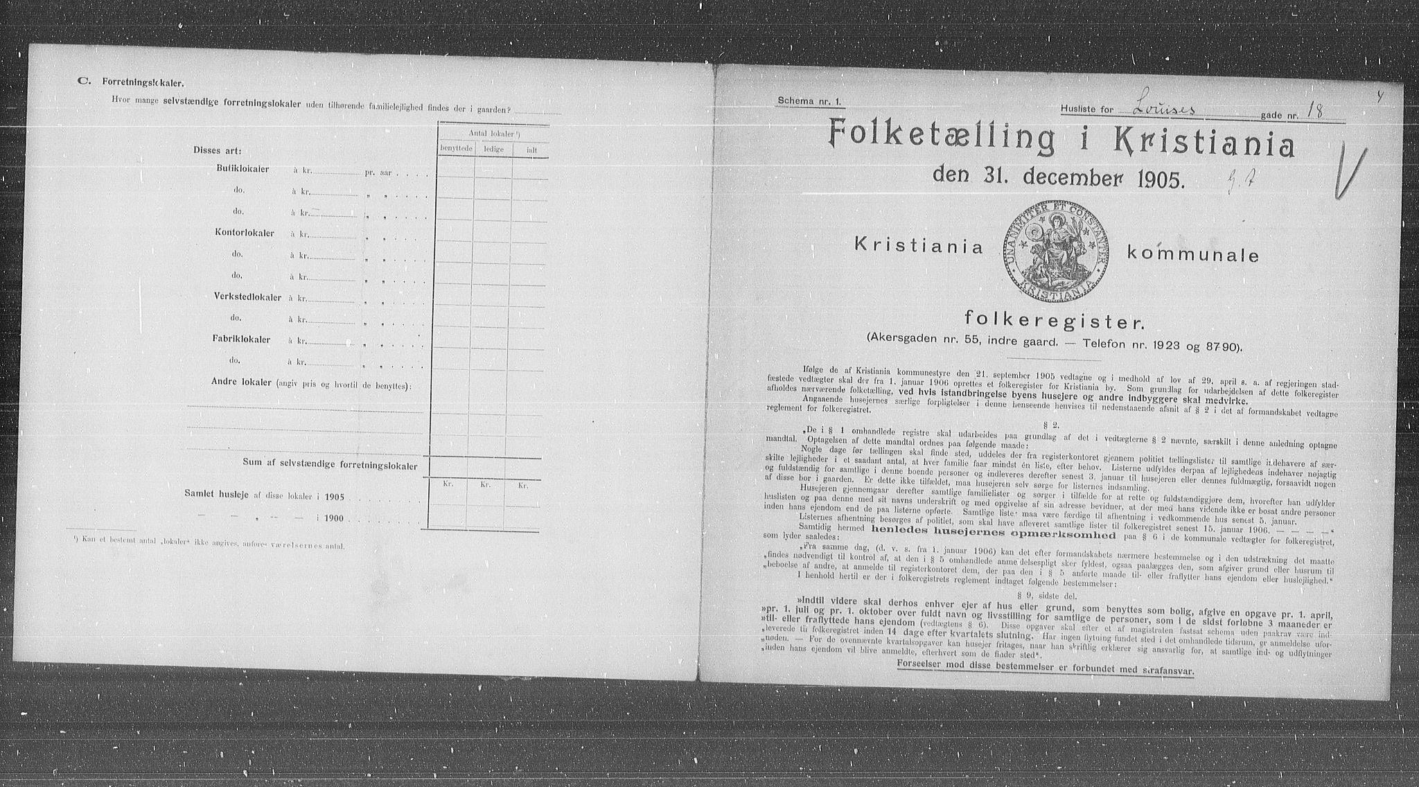 OBA, Kommunal folketelling 1905 for Kristiania kjøpstad, 1905, s. 30693