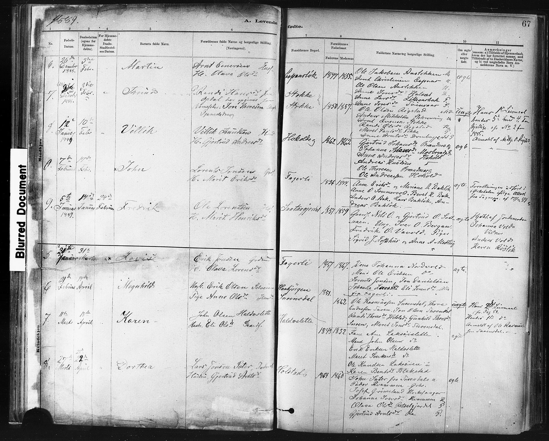 SAT, Ministerialprotokoller, klokkerbøker og fødselsregistre - Sør-Trøndelag, 672/L0857: Ministerialbok nr. 672A09, 1882-1893, s. 67