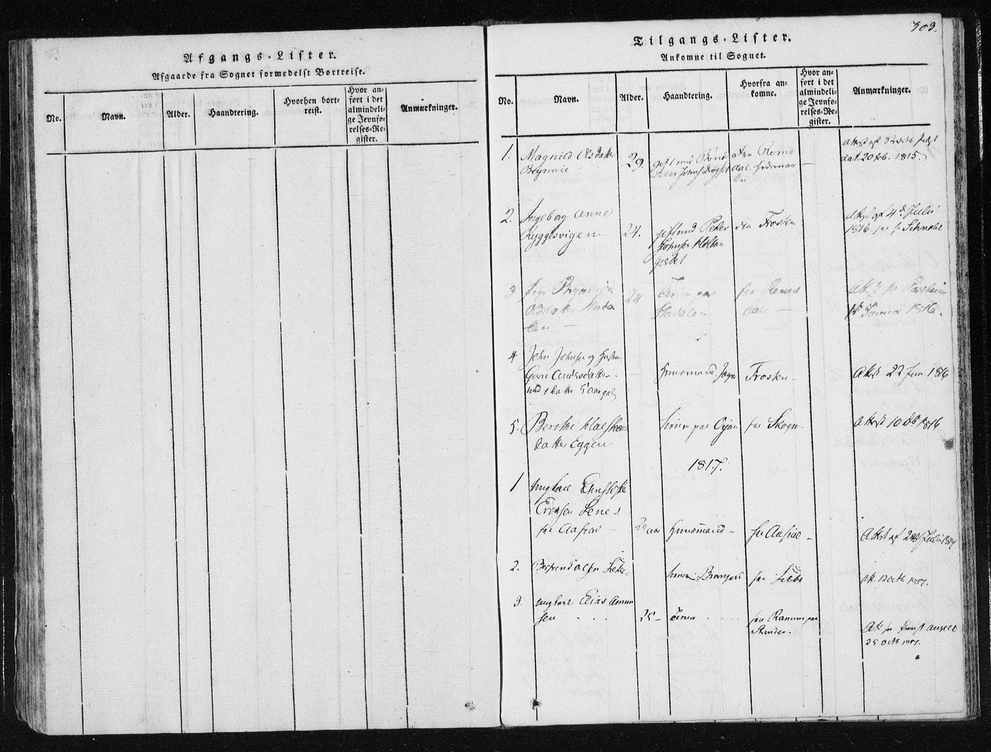 SAT, Ministerialprotokoller, klokkerbøker og fødselsregistre - Nord-Trøndelag, 709/L0061: Ministerialbok nr. 709A08 /1, 1815-1819, s. 303