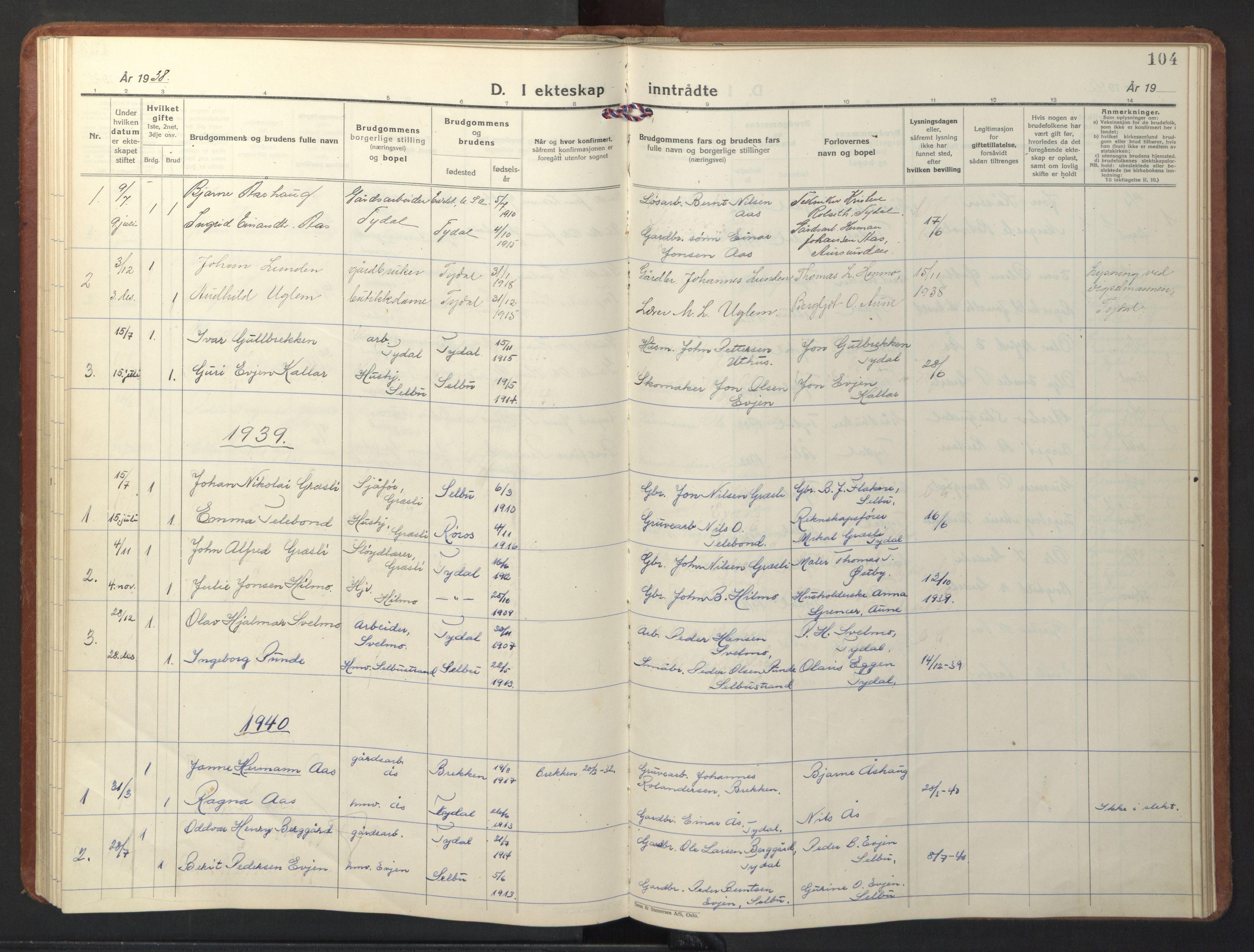 SAT, Ministerialprotokoller, klokkerbøker og fødselsregistre - Sør-Trøndelag, 698/L1169: Klokkerbok nr. 698C06, 1930-1949, s. 104