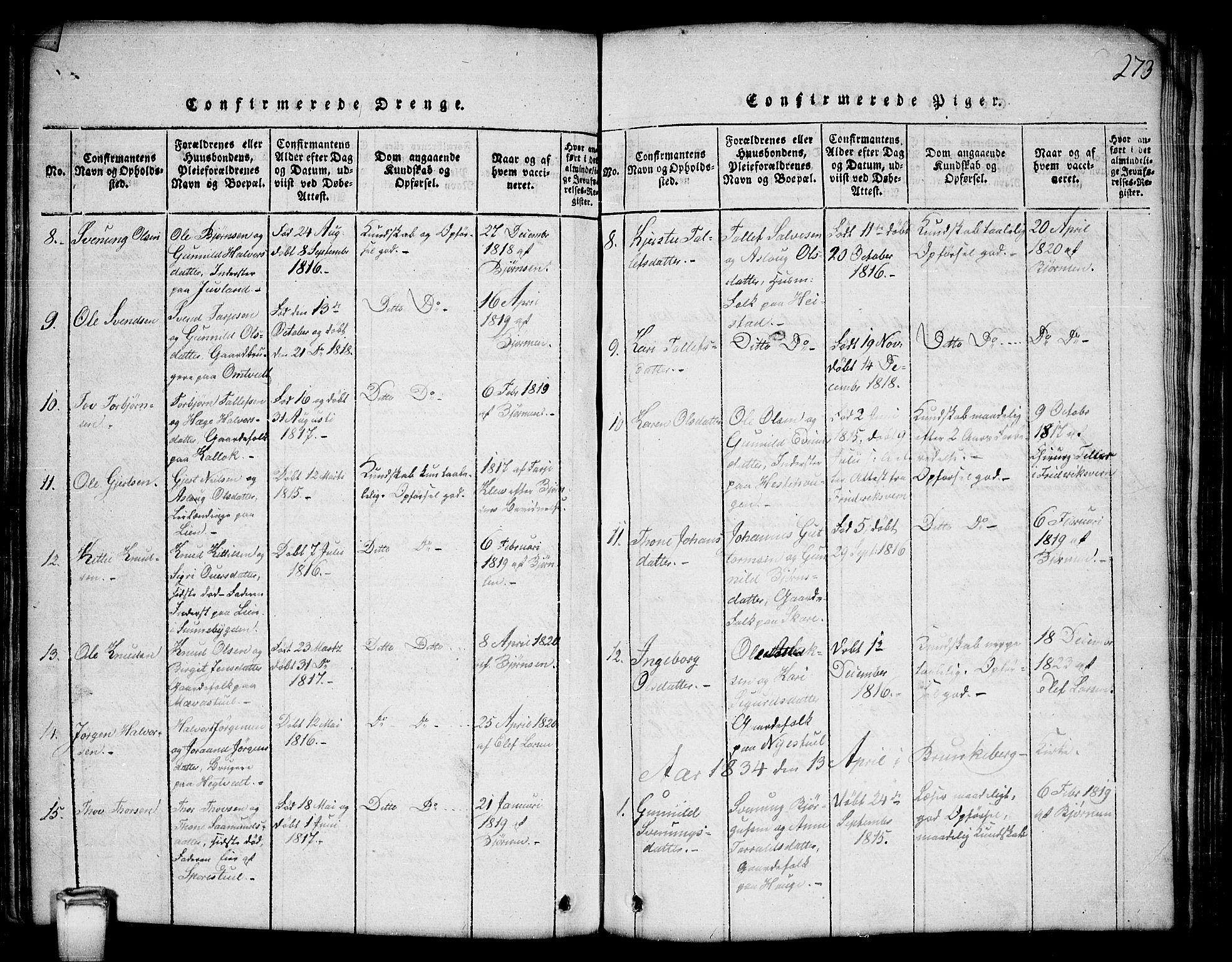 SAKO, Kviteseid kirkebøker, G/Gb/L0001: Klokkerbok nr. II 1, 1815-1842, s. 273