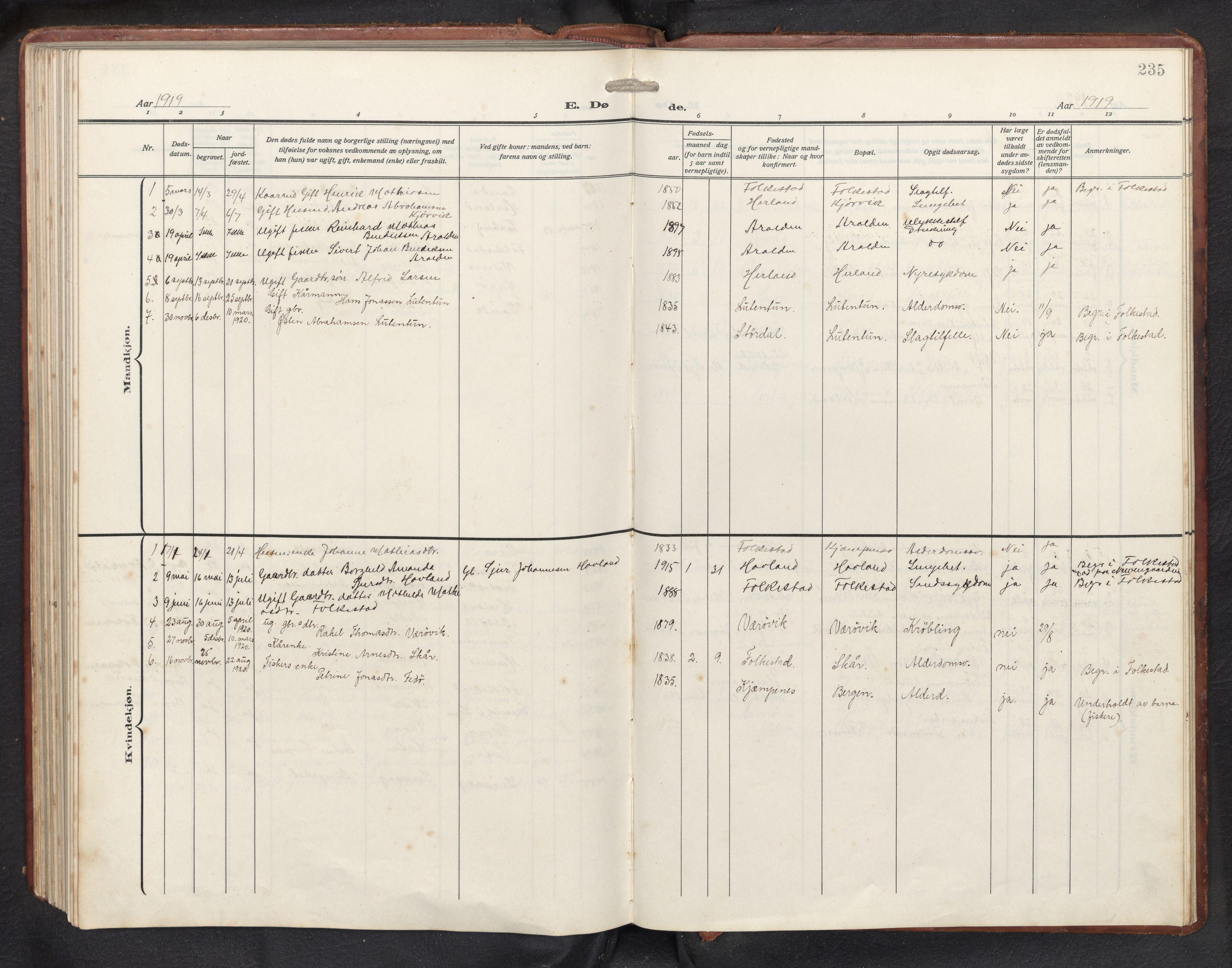 SAB, Askvoll sokneprestembete, H/Hab/Habb/L0002: Klokkerbok nr. B 2, 1910-1947, s. 234b-235a