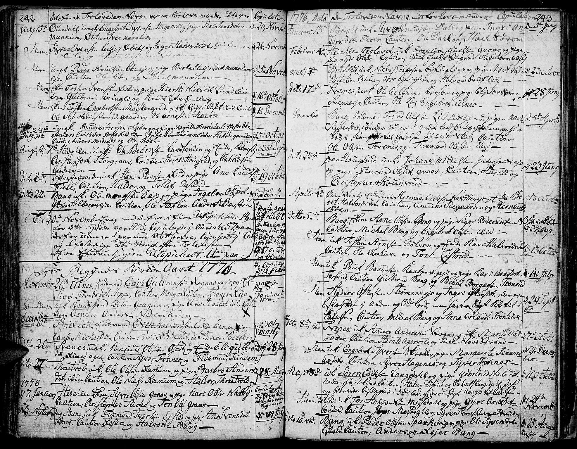 SAH, Aurdal prestekontor, Ministerialbok nr. 5, 1763-1781, s. 242-243