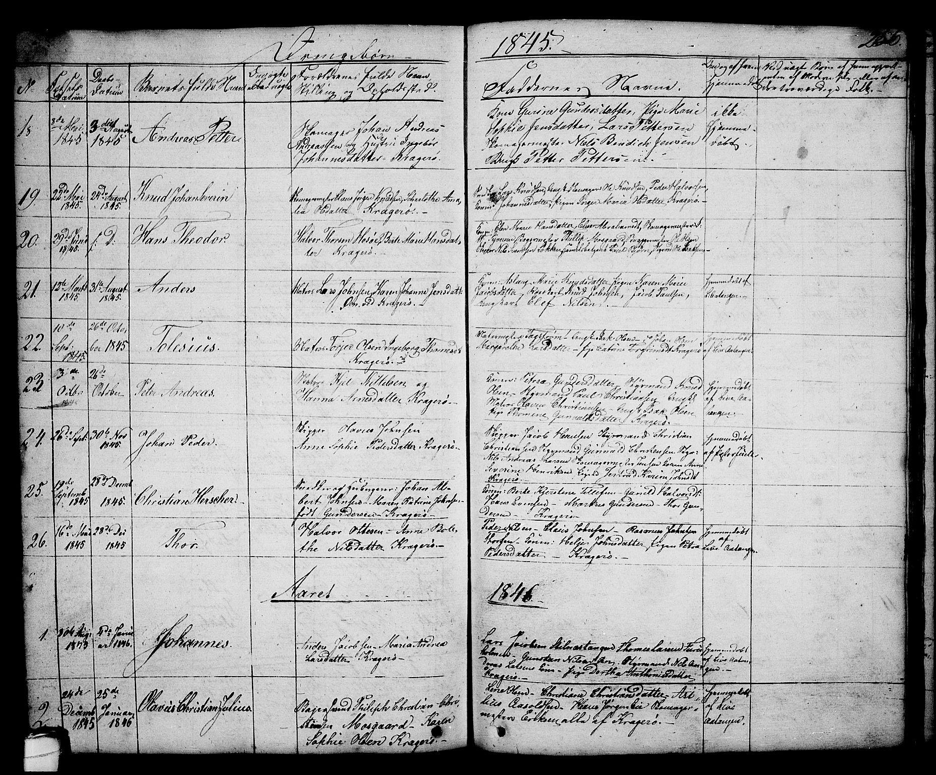 SAKO, Kragerø kirkebøker, G/Ga/L0003: Klokkerbok nr. 3, 1832-1852, s. 256