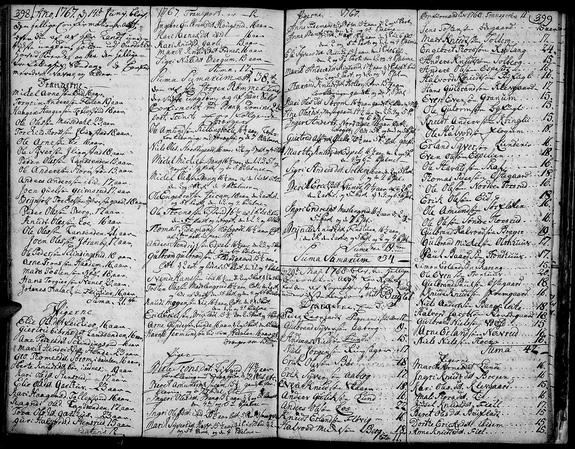 SAH, Aurdal prestekontor, Ministerialbok nr. 5, 1763-1781, s. 398-399