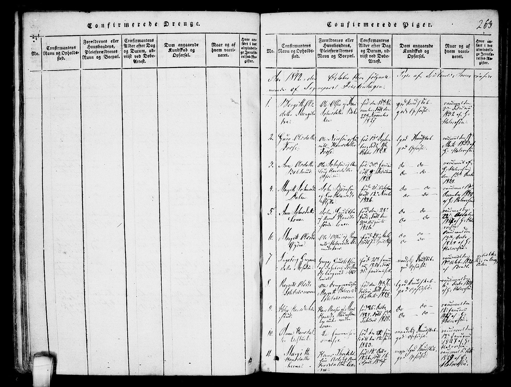 SAKO, Hjartdal kirkebøker, F/Fb/L0001: Ministerialbok nr. II 1, 1815-1843, s. 263