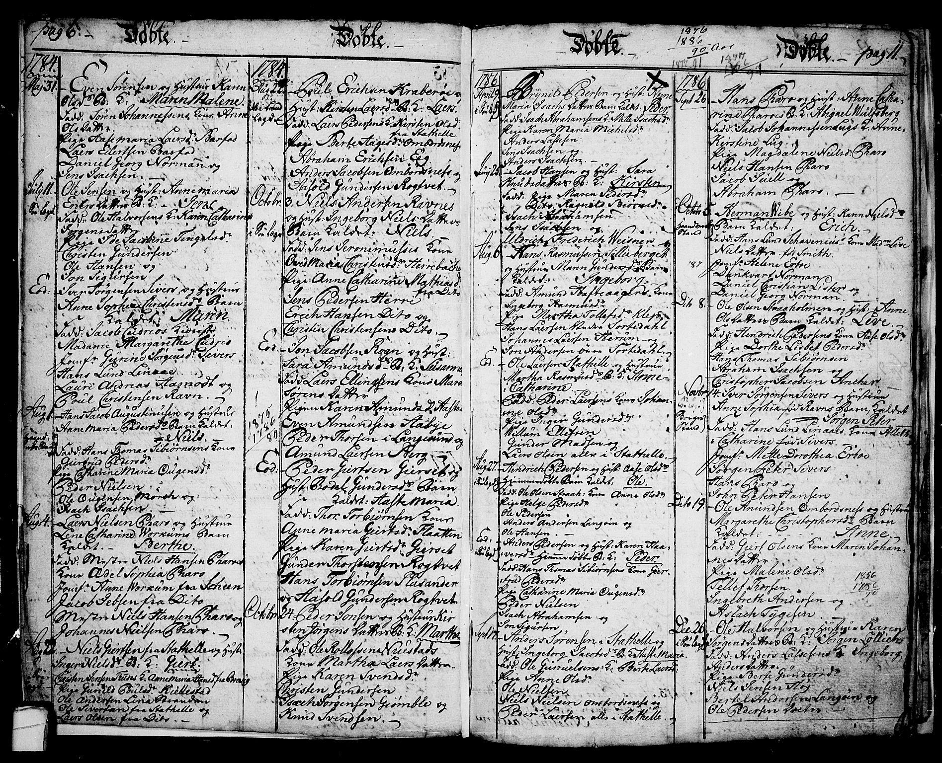 SAKO, Langesund kirkebøker, G/Ga/L0001: Klokkerbok nr. 1, 1783-1801, s. 6-7
