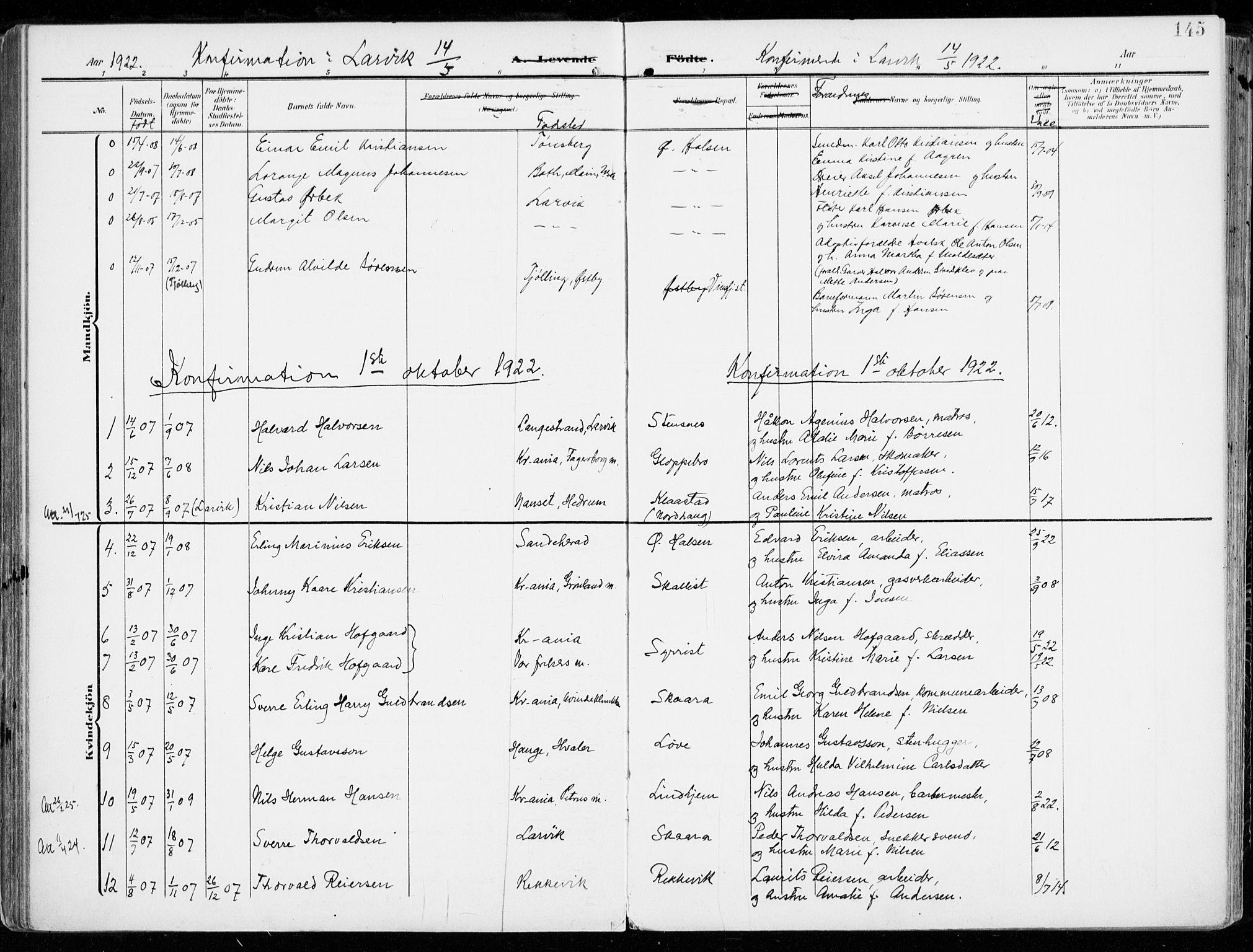 SAKO, Tjølling kirkebøker, F/Fa/L0010: Ministerialbok nr. 10, 1906-1923, s. 145