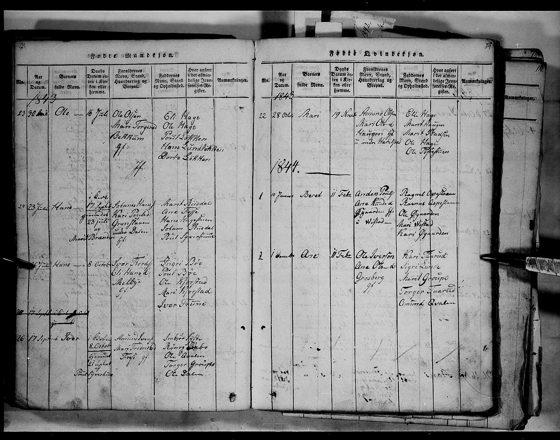 SAH, Fron prestekontor, H/Ha/Hab/L0003: Klokkerbok nr. 3, 1816-1850, s. 74