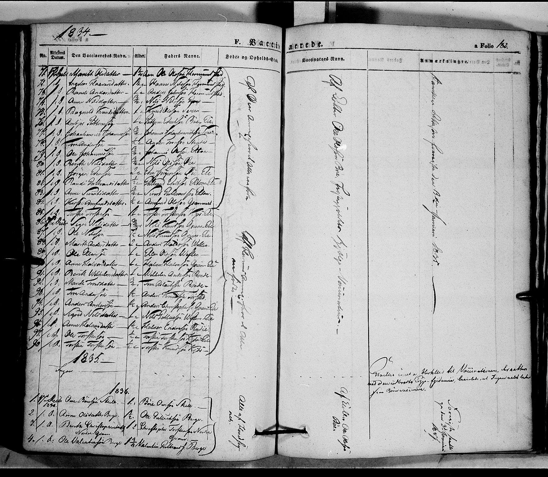 SAH, Vang prestekontor, Valdres, Ministerialbok nr. 5, 1831-1845, s. 182