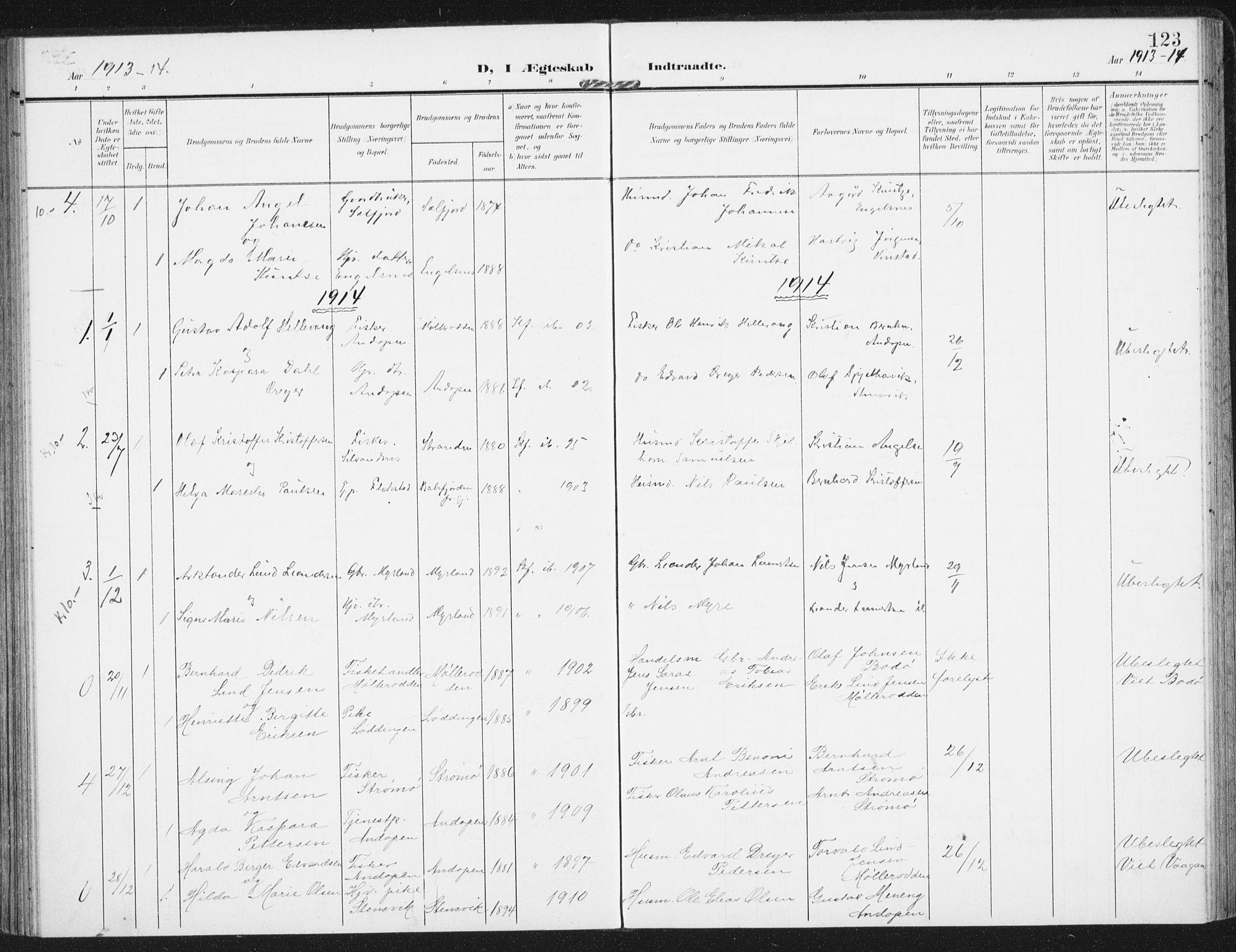 SAT, Ministerialprotokoller, klokkerbøker og fødselsregistre - Nordland, 885/L1206: Ministerialbok nr. 885A07, 1905-1915, s. 123