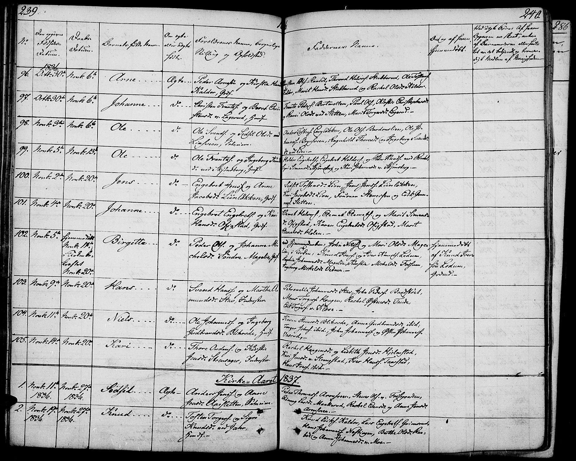 SAH, Øyer prestekontor, Ministerialbok nr. 4, 1824-1841, s. 239-240