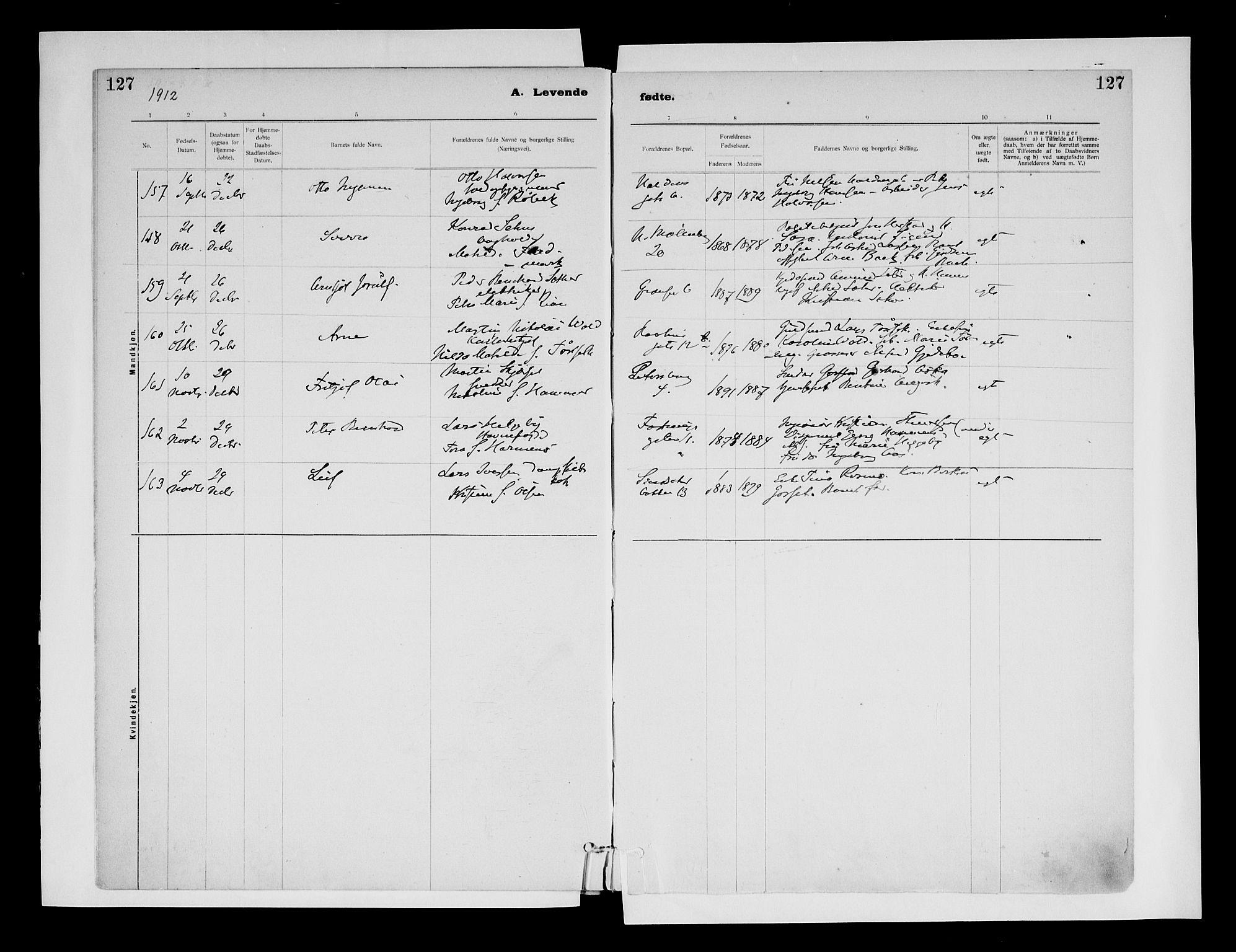 SAT, Ministerialprotokoller, klokkerbøker og fødselsregistre - Sør-Trøndelag, 604/L0203: Ministerialbok nr. 604A23, 1908-1916, s. 127