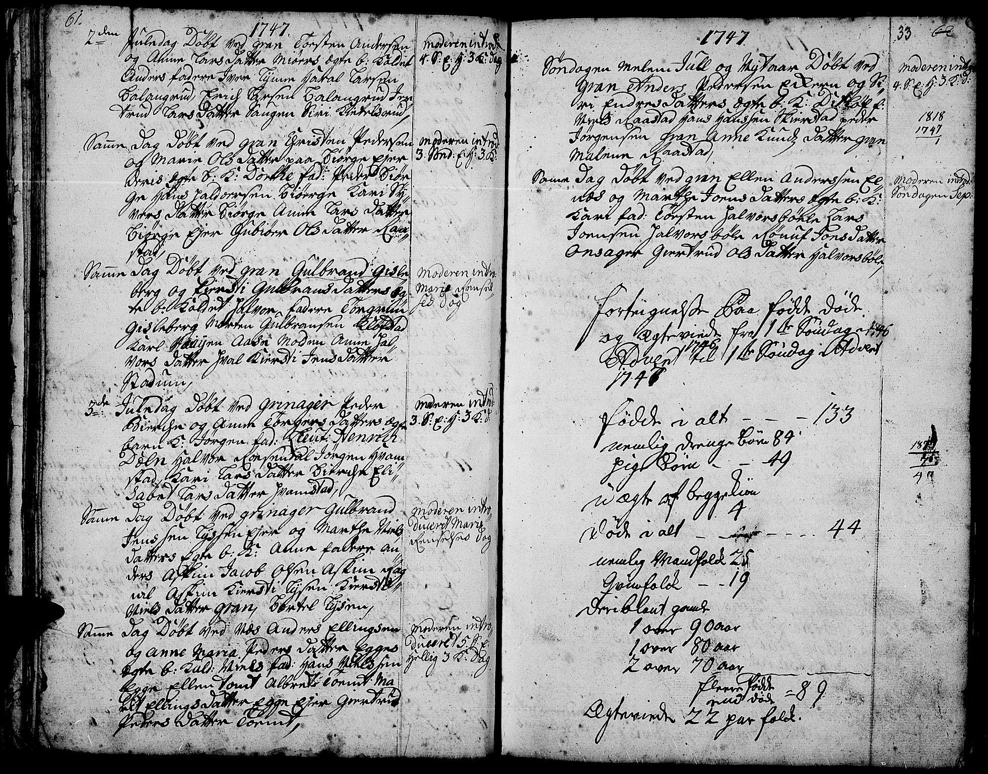SAH, Gran prestekontor, Ministerialbok nr. 3, 1745-1758, s. 33