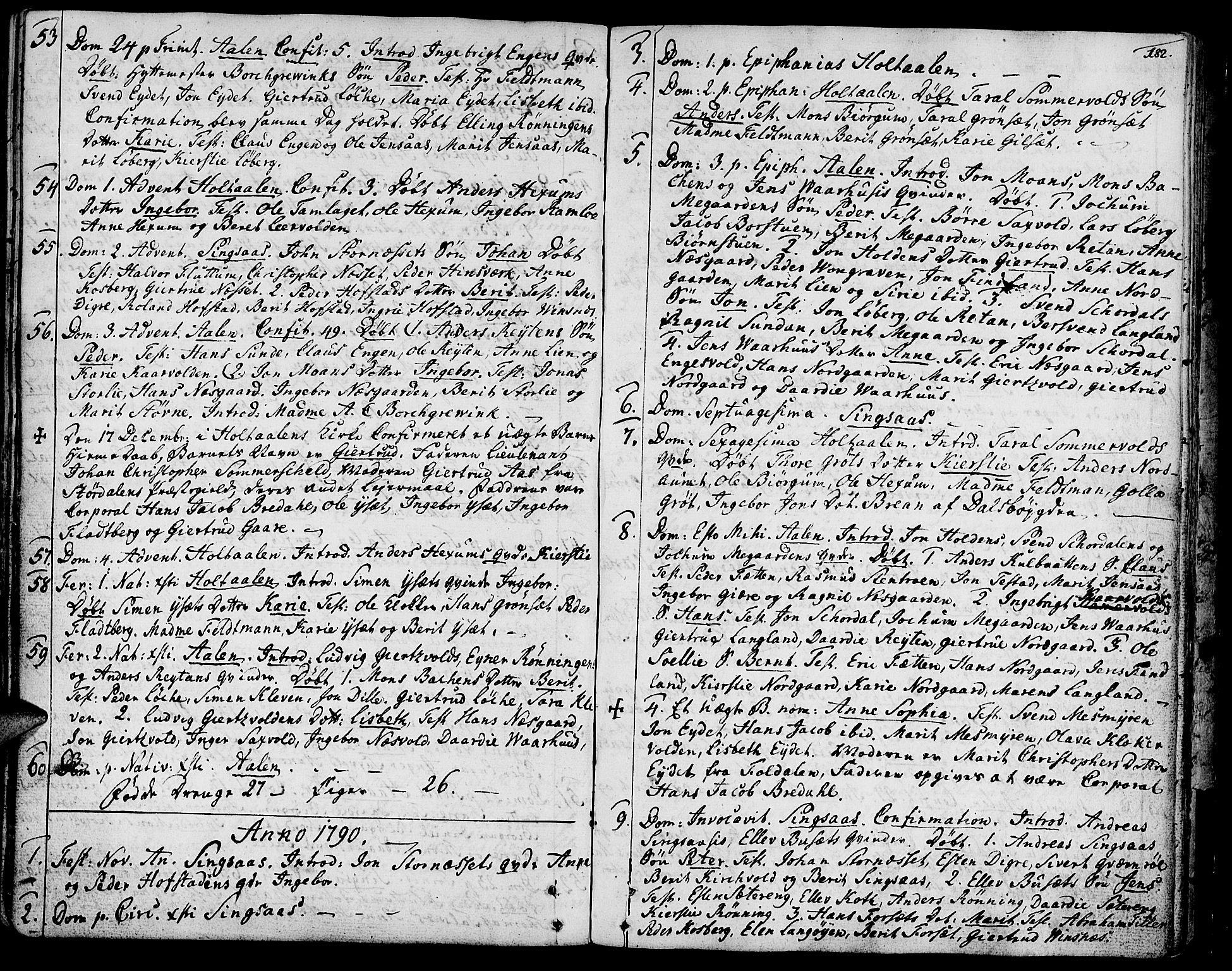 SAT, Ministerialprotokoller, klokkerbøker og fødselsregistre - Sør-Trøndelag, 685/L0952: Ministerialbok nr. 685A01, 1745-1804, s. 182