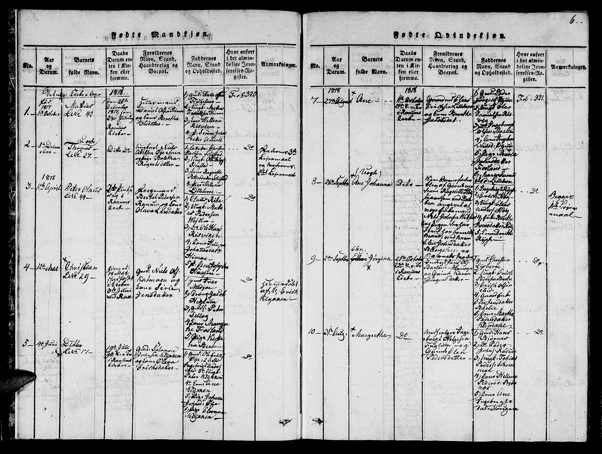 SAT, Ministerialprotokoller, klokkerbøker og fødselsregistre - Nord-Trøndelag, 764/L0546: Ministerialbok nr. 764A06 /1, 1816-1823, s. 6