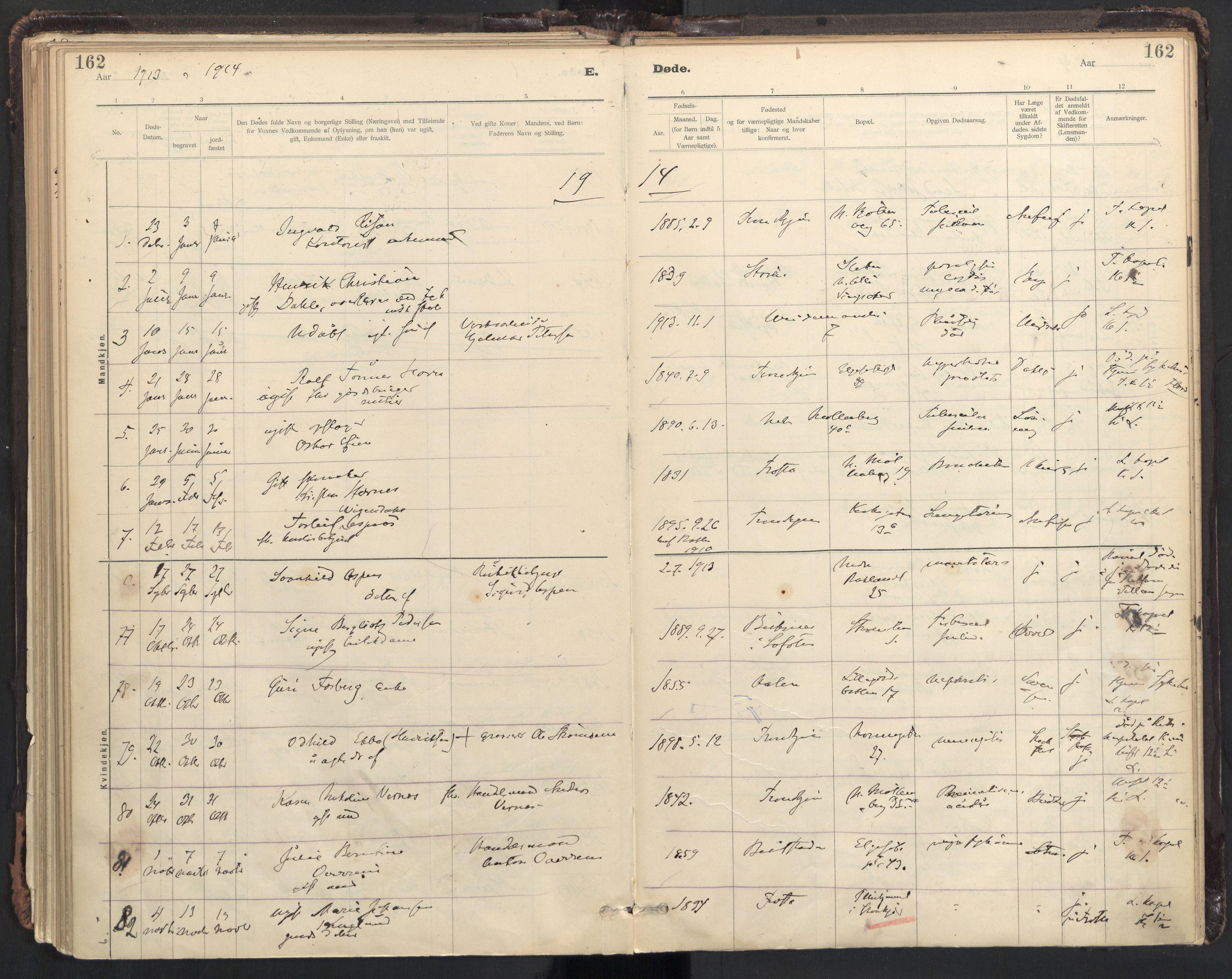 SAT, Ministerialprotokoller, klokkerbøker og fødselsregistre - Sør-Trøndelag, 604/L0204: Ministerialbok nr. 604A24, 1911-1920, s. 162