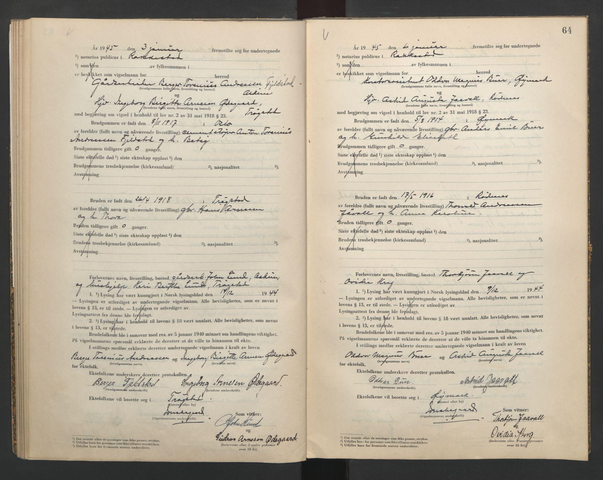 SAO, Rakkestad sorenskriveri, L/Lc/Lca/L0004: Vigselbøker, 1944-1945, s. 64
