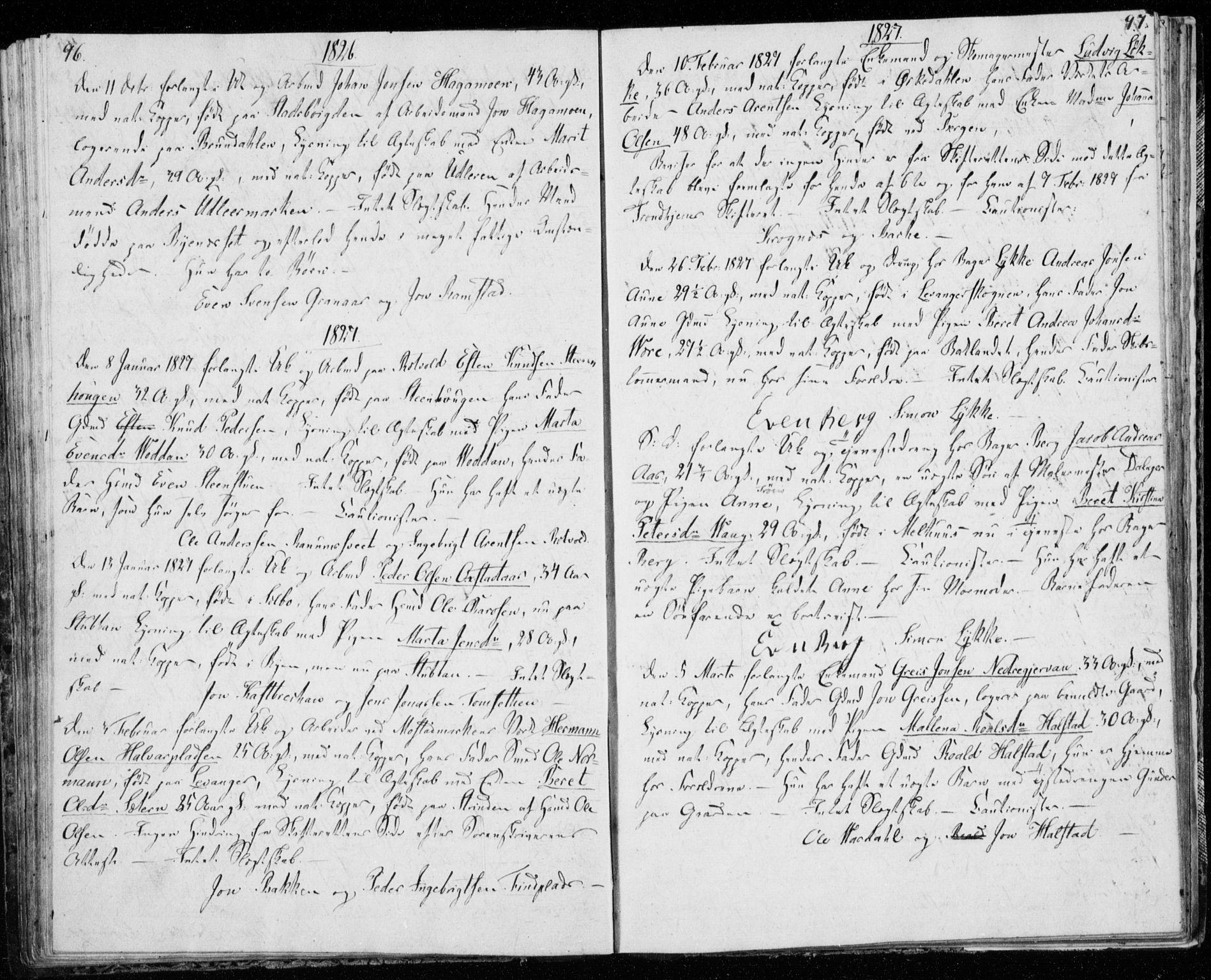 SAT, Ministerialprotokoller, klokkerbøker og fødselsregistre - Sør-Trøndelag, 606/L0295: Lysningsprotokoll nr. 606A10, 1815-1833, s. 96-97