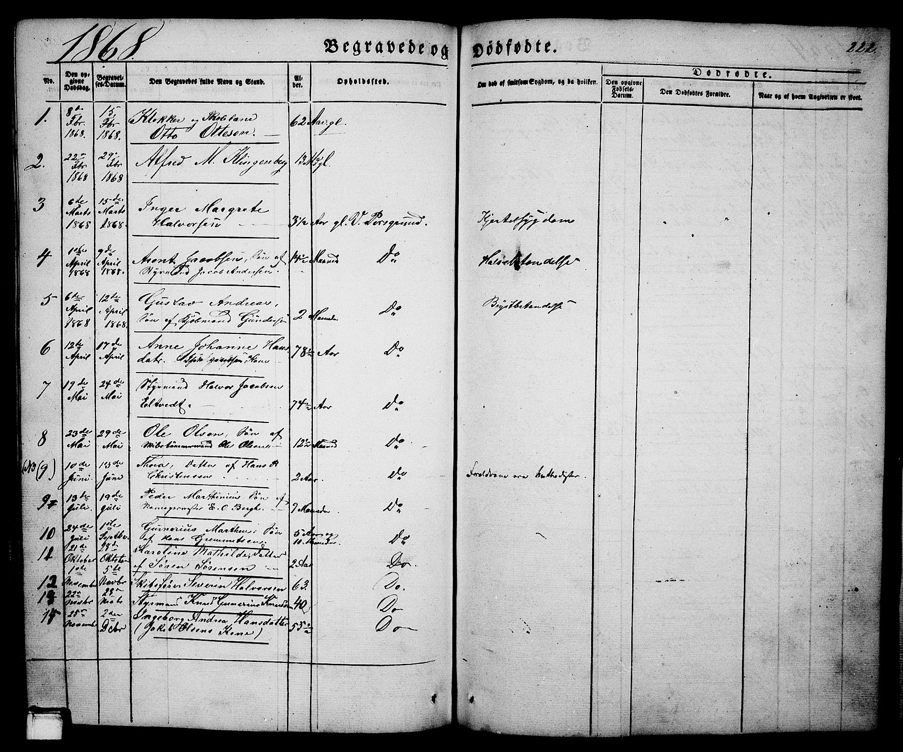 SAKO, Porsgrunn kirkebøker , G/Ga/L0002: Klokkerbok nr. I 2, 1847-1877, s. 222