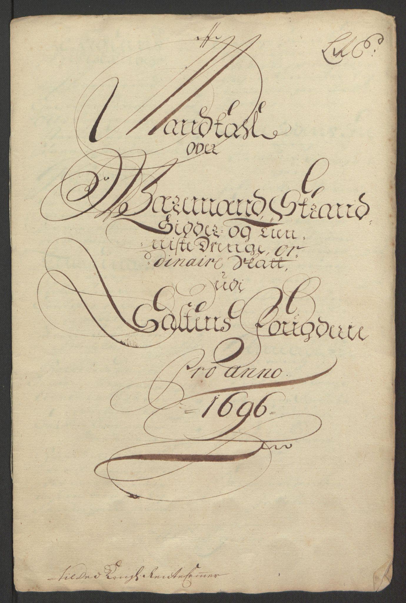 RA, Rentekammeret inntil 1814, Reviderte regnskaper, Fogderegnskap, R66/L4578: Fogderegnskap Salten, 1694-1696, s. 251